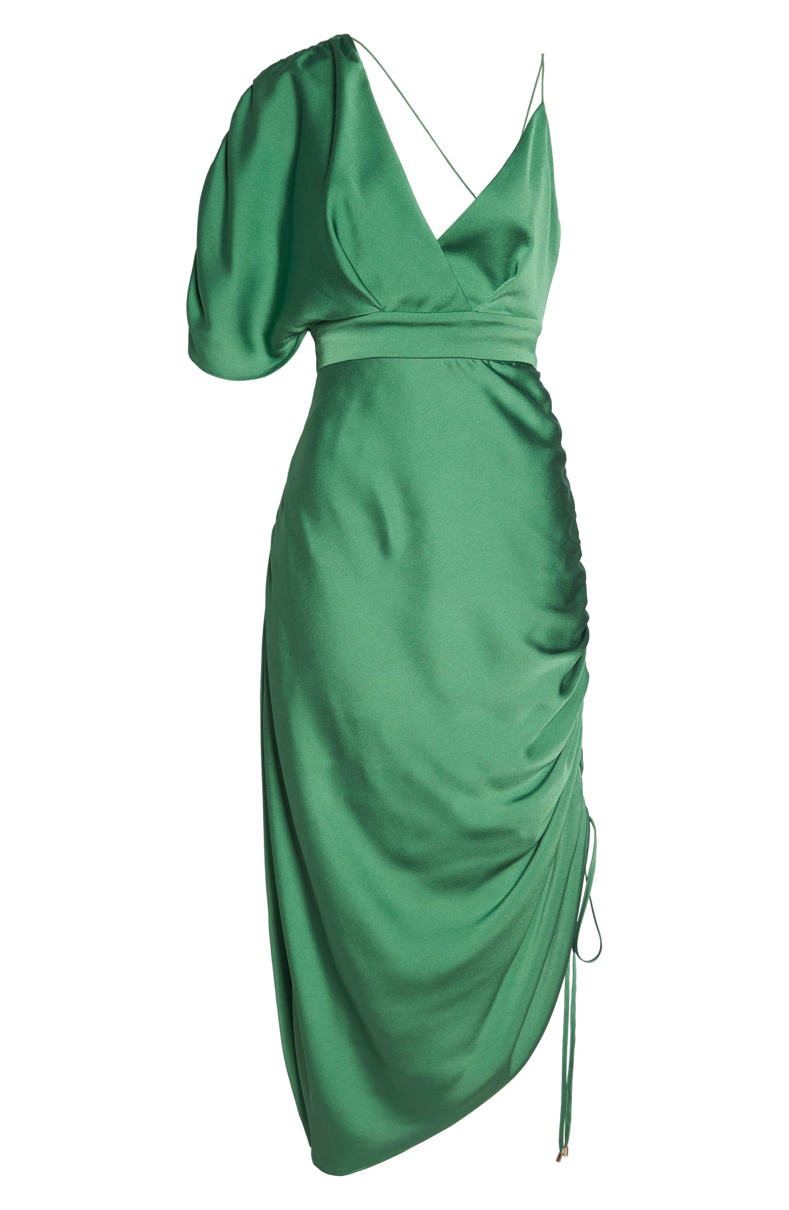 I've Got You Asymmetrical Satin Dress,                             Alternate thumbnail 6, color,                             Emerald Green