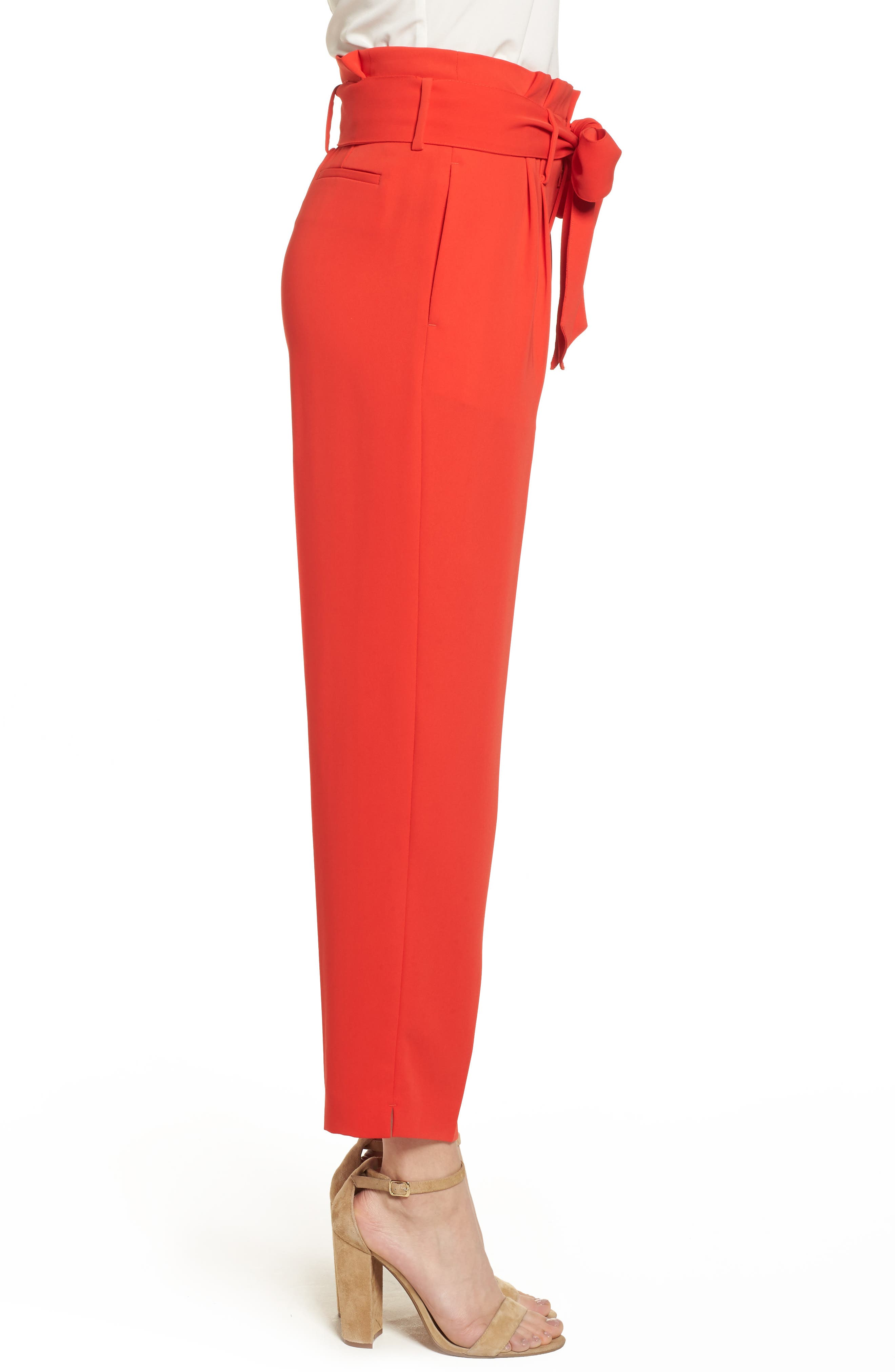 Paperbag Waist Crop Trousers,                             Alternate thumbnail 3, color,                             Red Pop