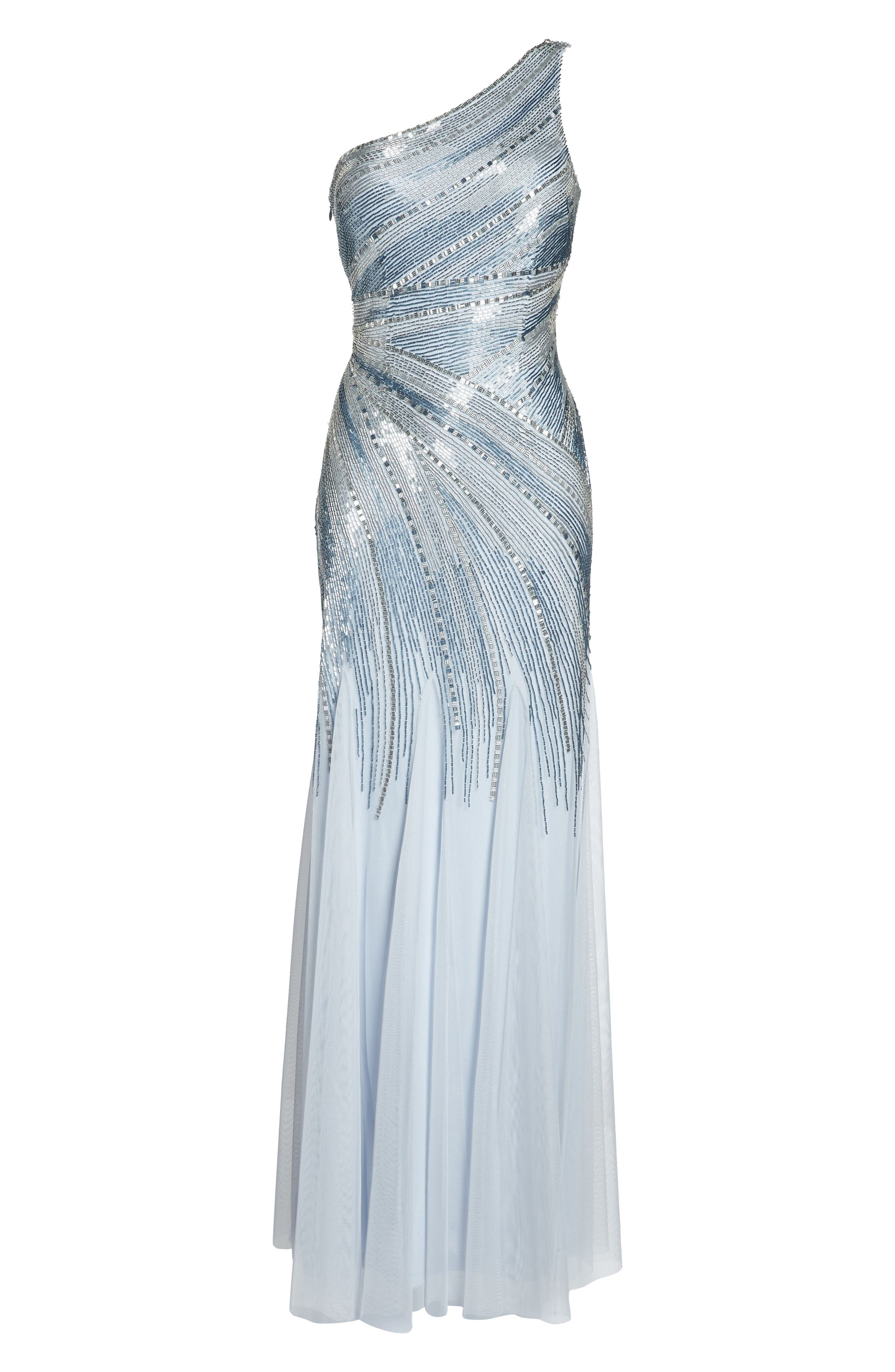 Beaded One-Shoulder Mermaid Gown,                             Alternate thumbnail 6, color,                             Serenity