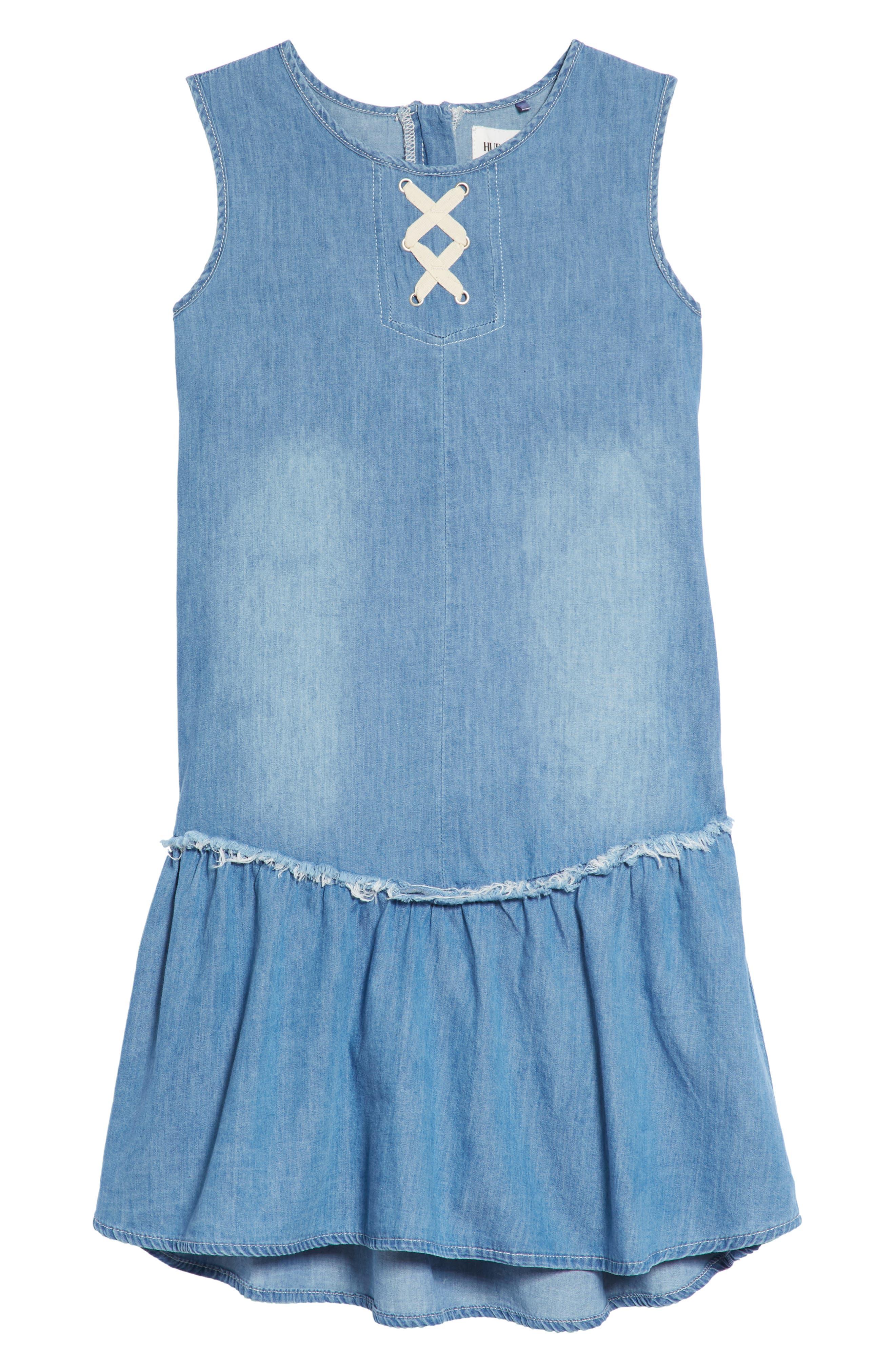 Lulu Lace-Up Chambray Dress,                             Main thumbnail 1, color,                             Light Blue