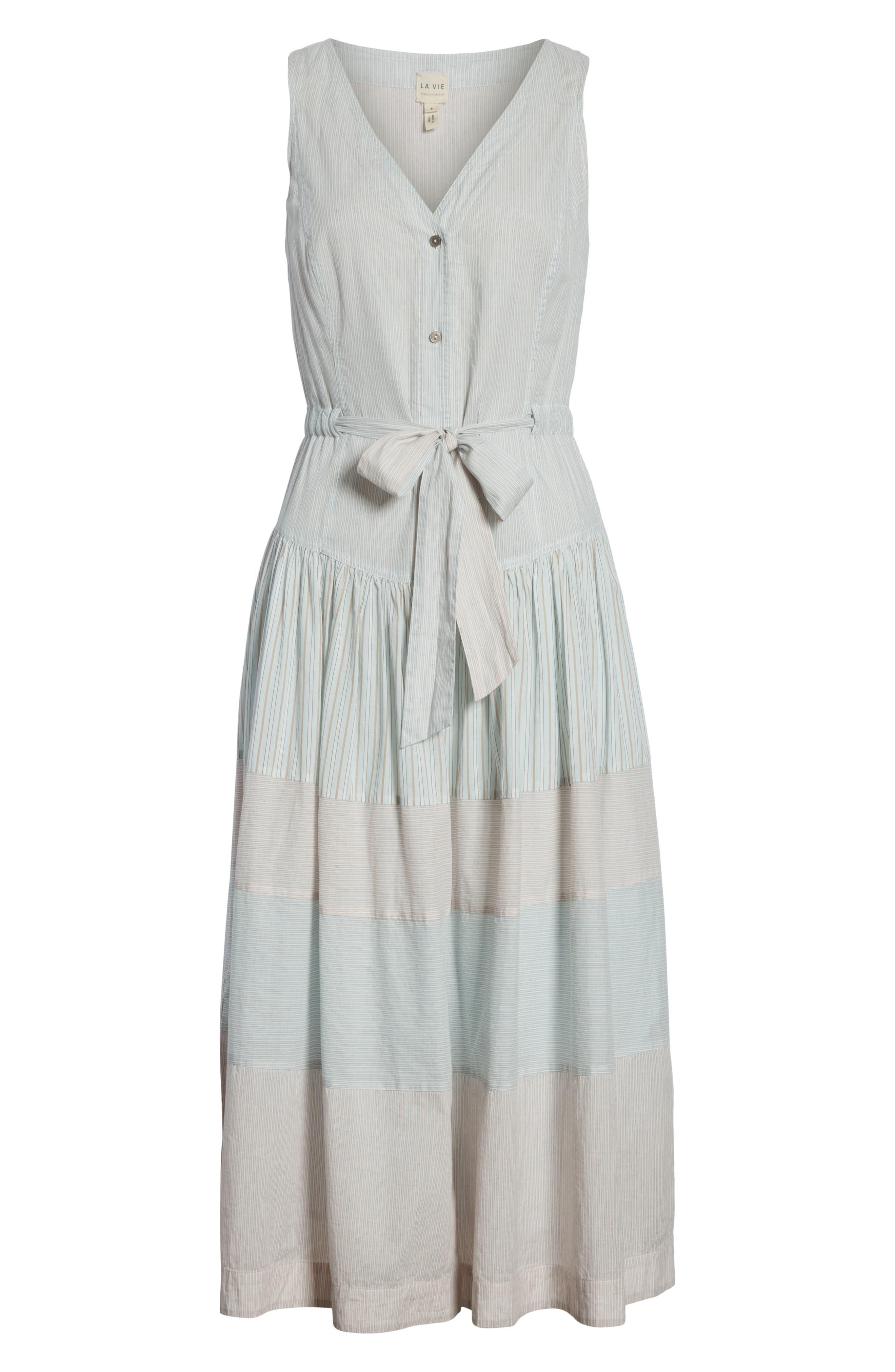 Mix Stripe Cotton Dress,                             Alternate thumbnail 6, color,                             Multi Combo