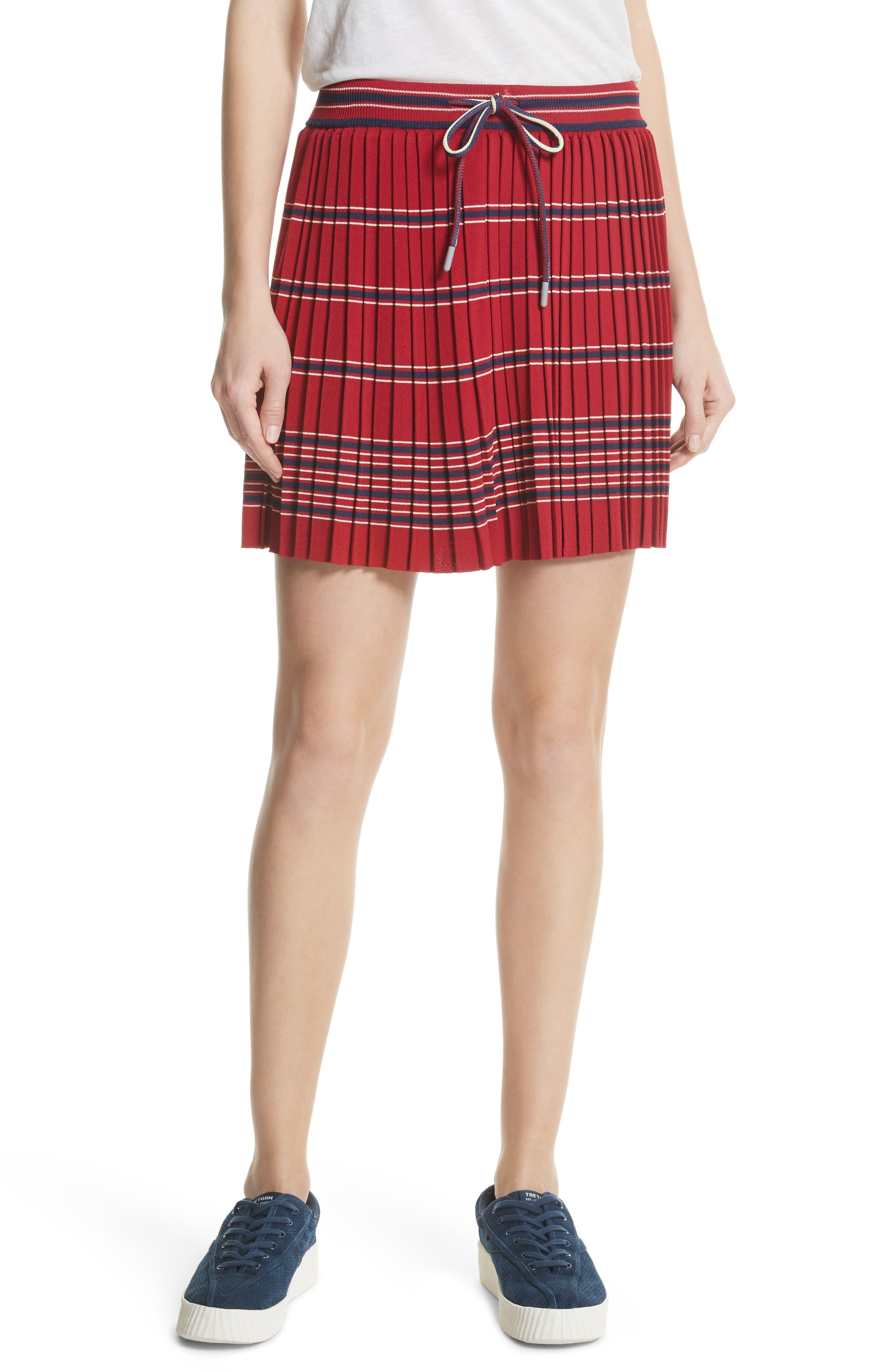 Pleated Miniskirt,                         Main,                         color, Bordeaux