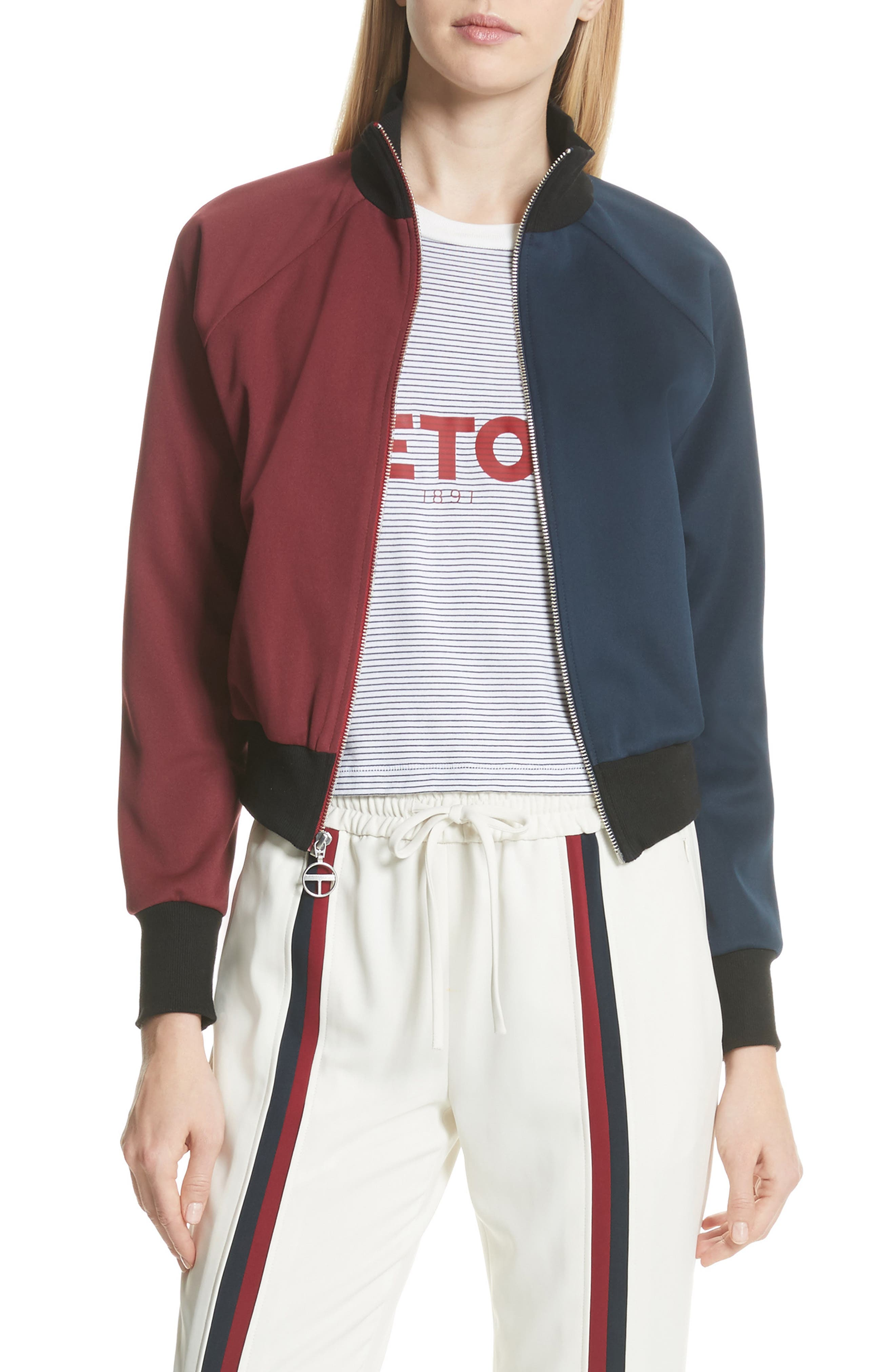 Colorblock Zip Sweatshirt,                         Main,                         color, Bordeaux/ Navy
