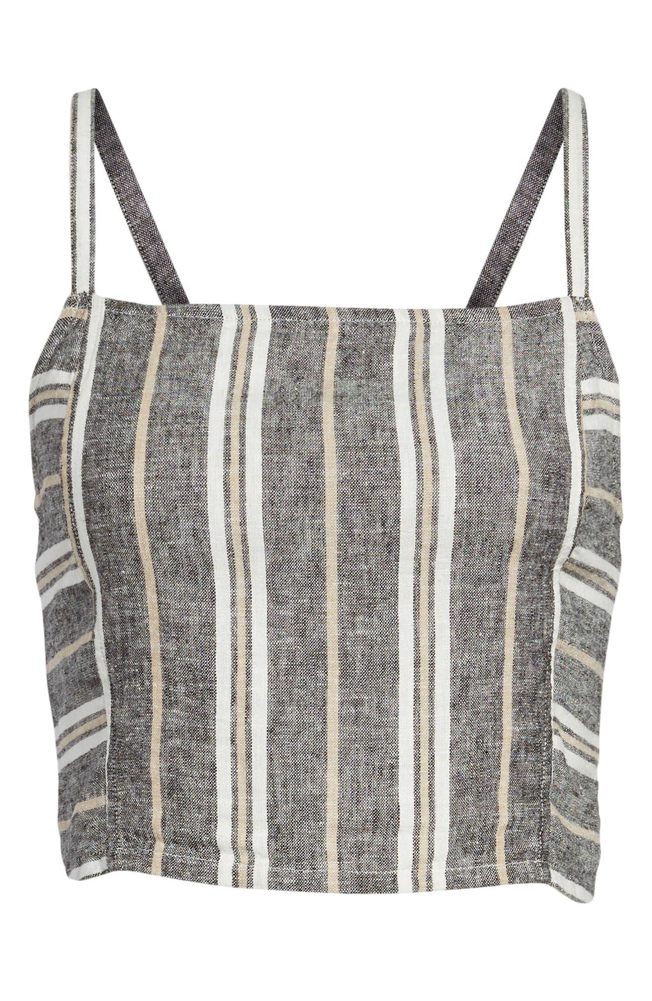 Stripe Linen Blend Tank,                             Alternate thumbnail 7, color,                             Black Betsty Stripe