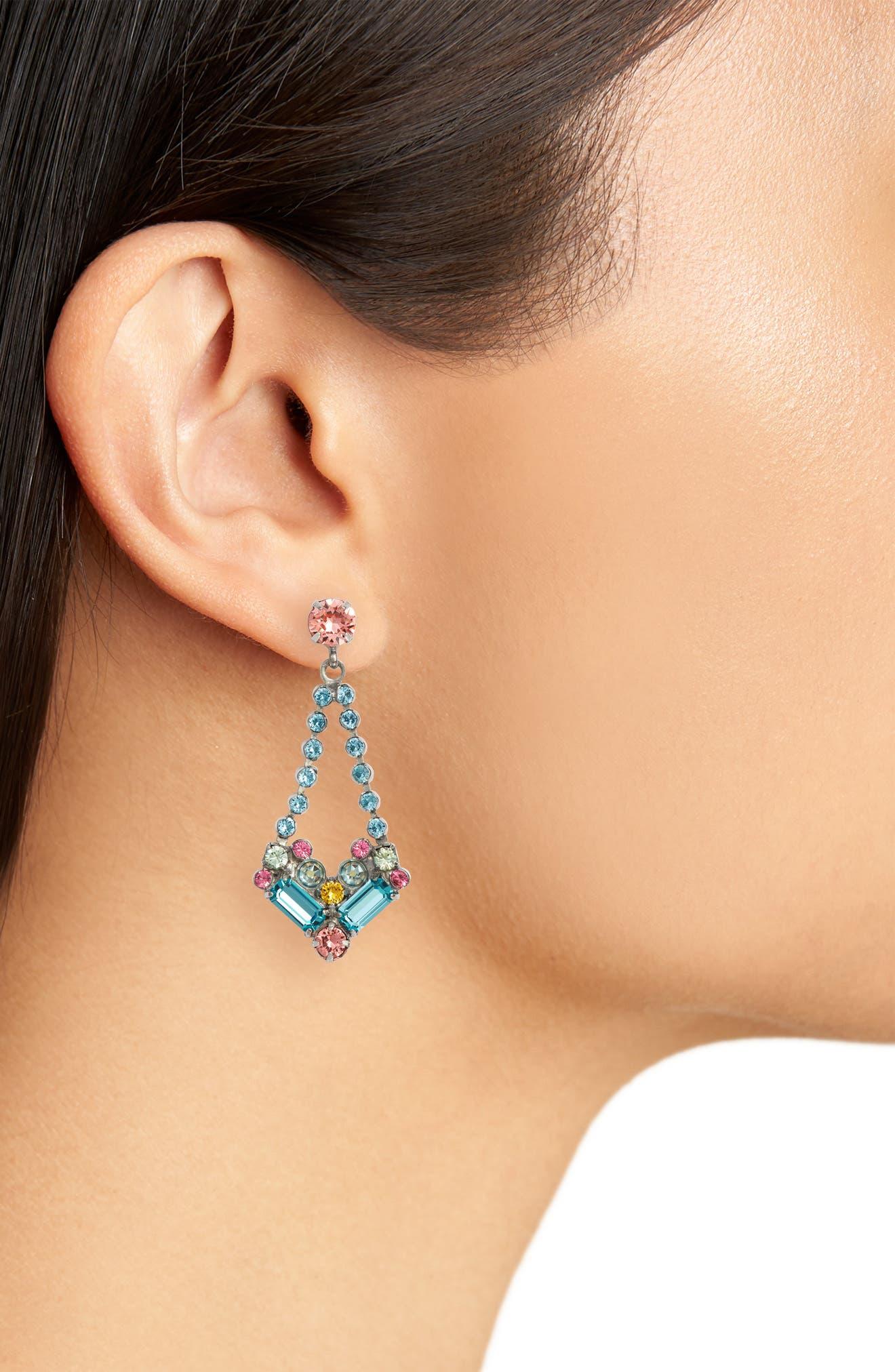 Kalmia Earrings,                             Alternate thumbnail 2, color,                             Aqua/ Pink/ Green