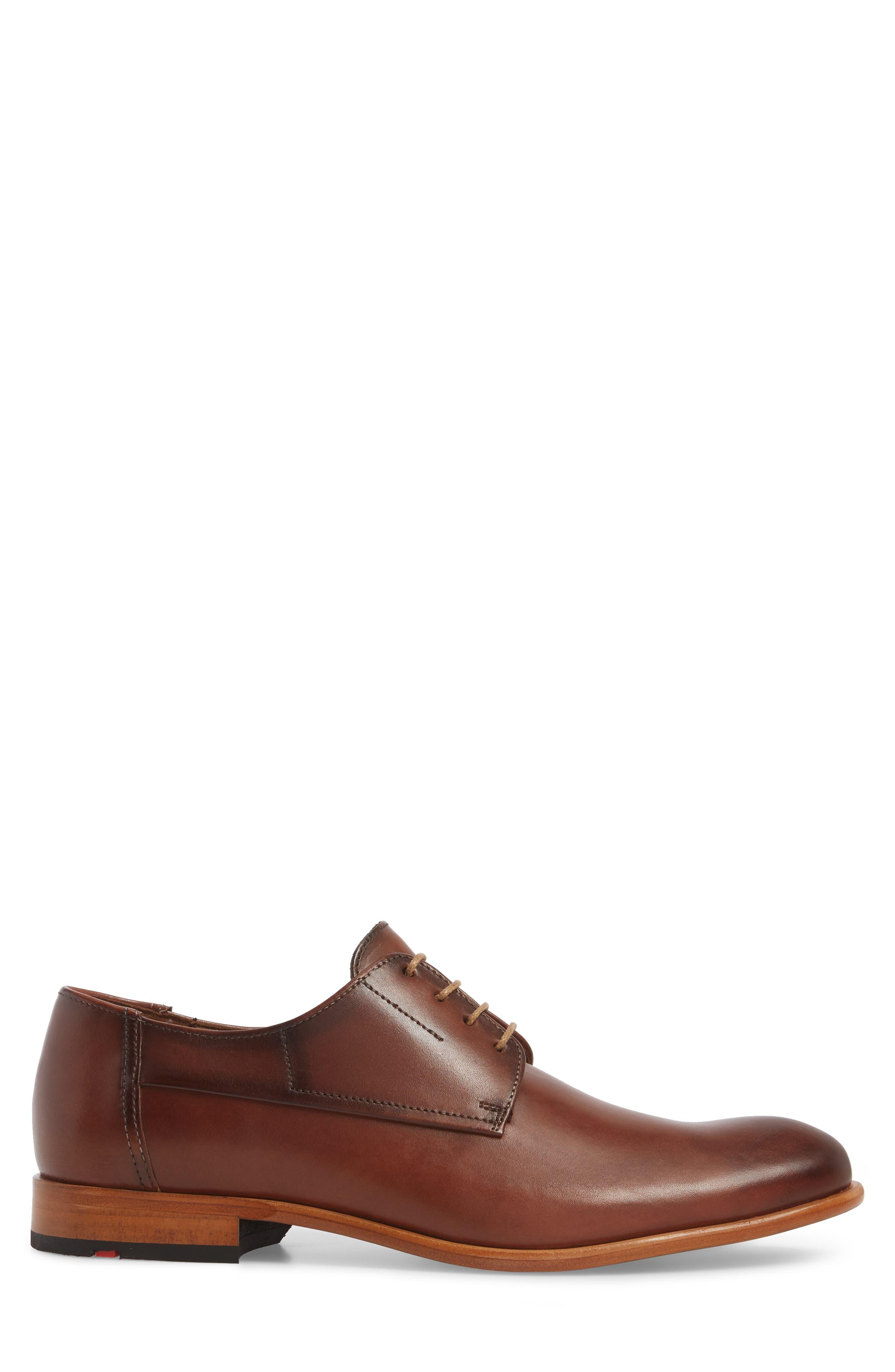 Nansen Plain Toe Derby,                             Alternate thumbnail 3, color,                             Cognac Leather