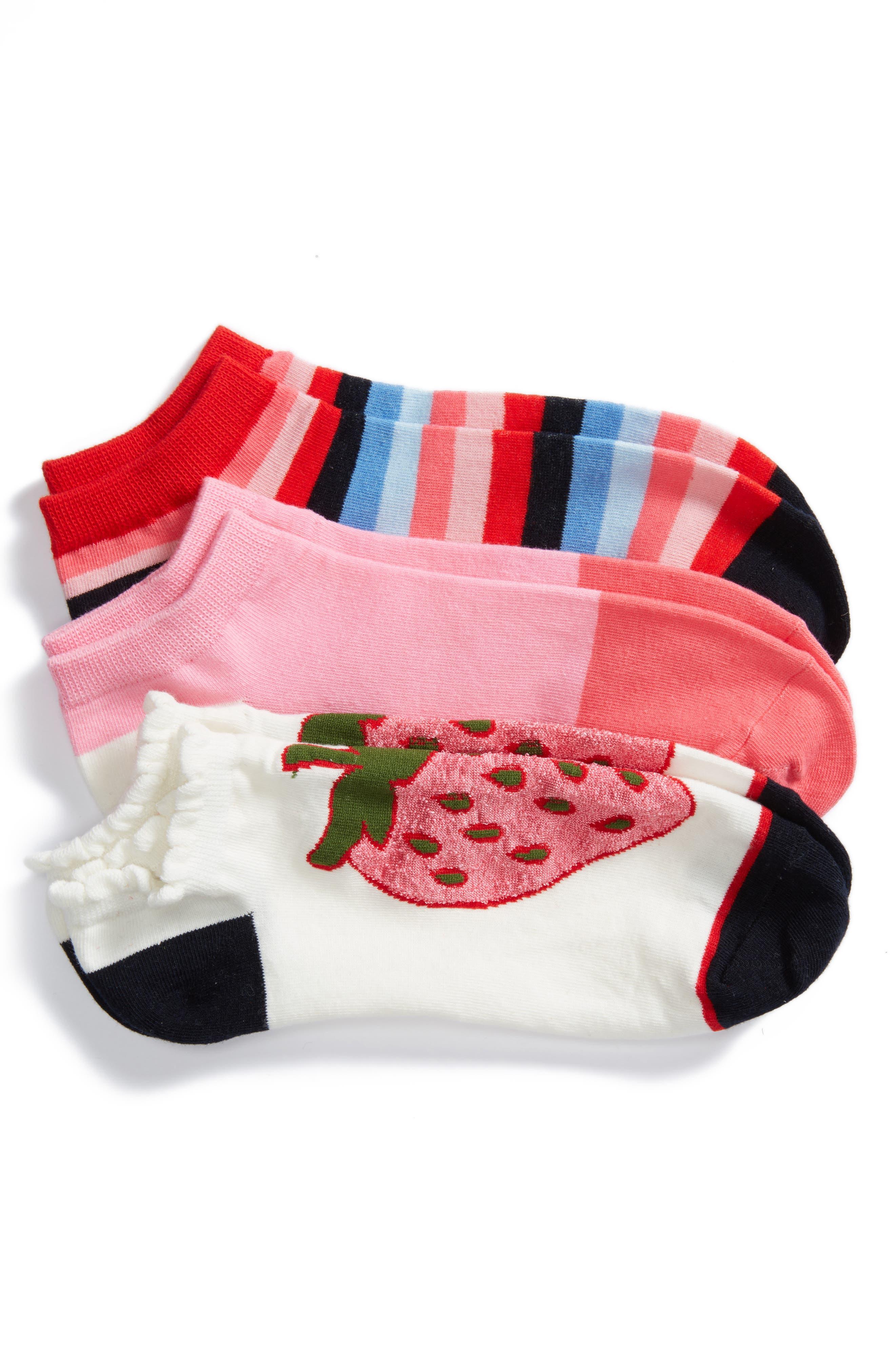 strawberry 3-pack no-show socks,                         Main,                         color, White