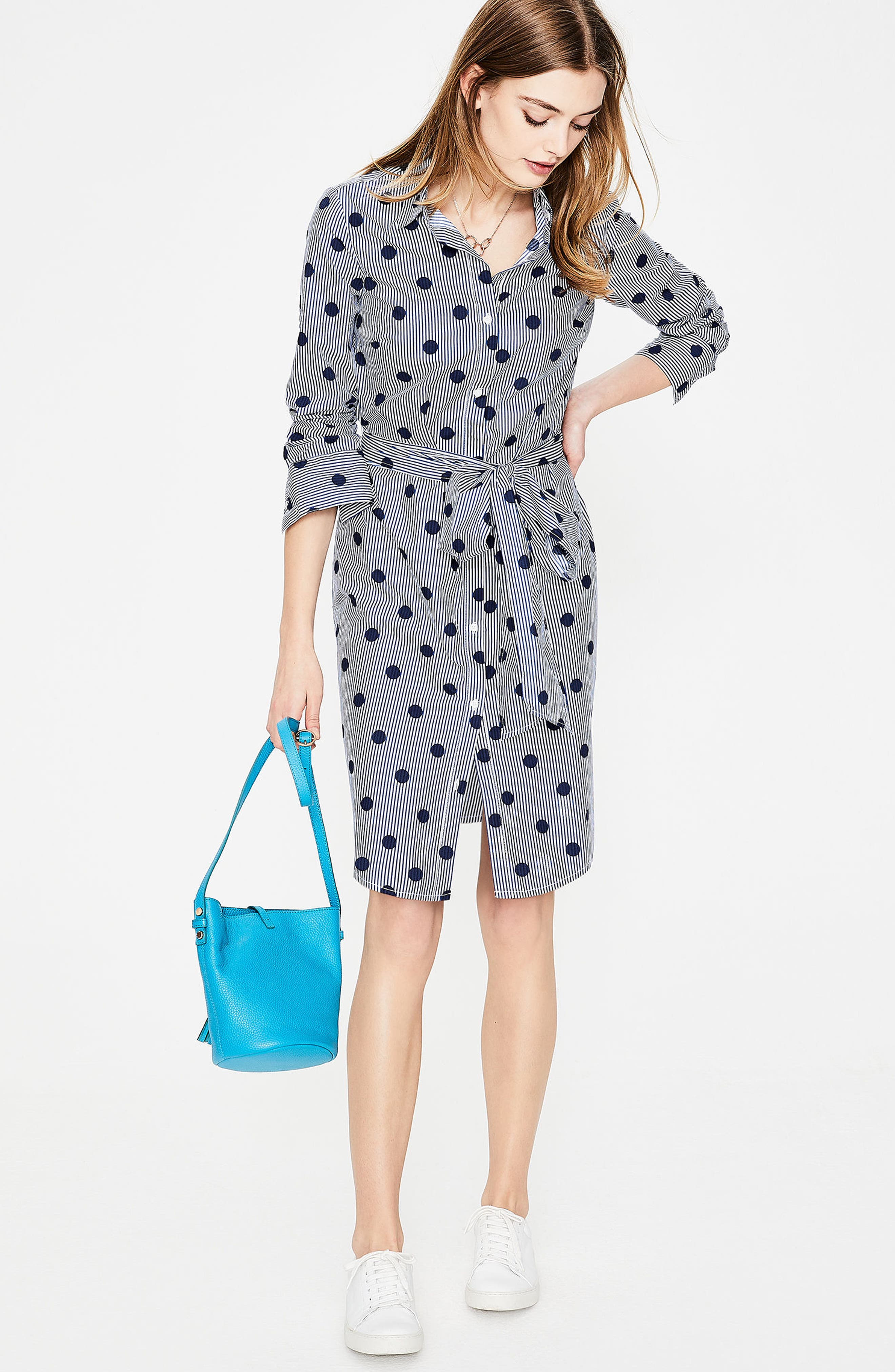Trend Stripe Dot Cotton Shirtdress,                             Alternate thumbnail 2, color,                             Navy Spot On Stripe