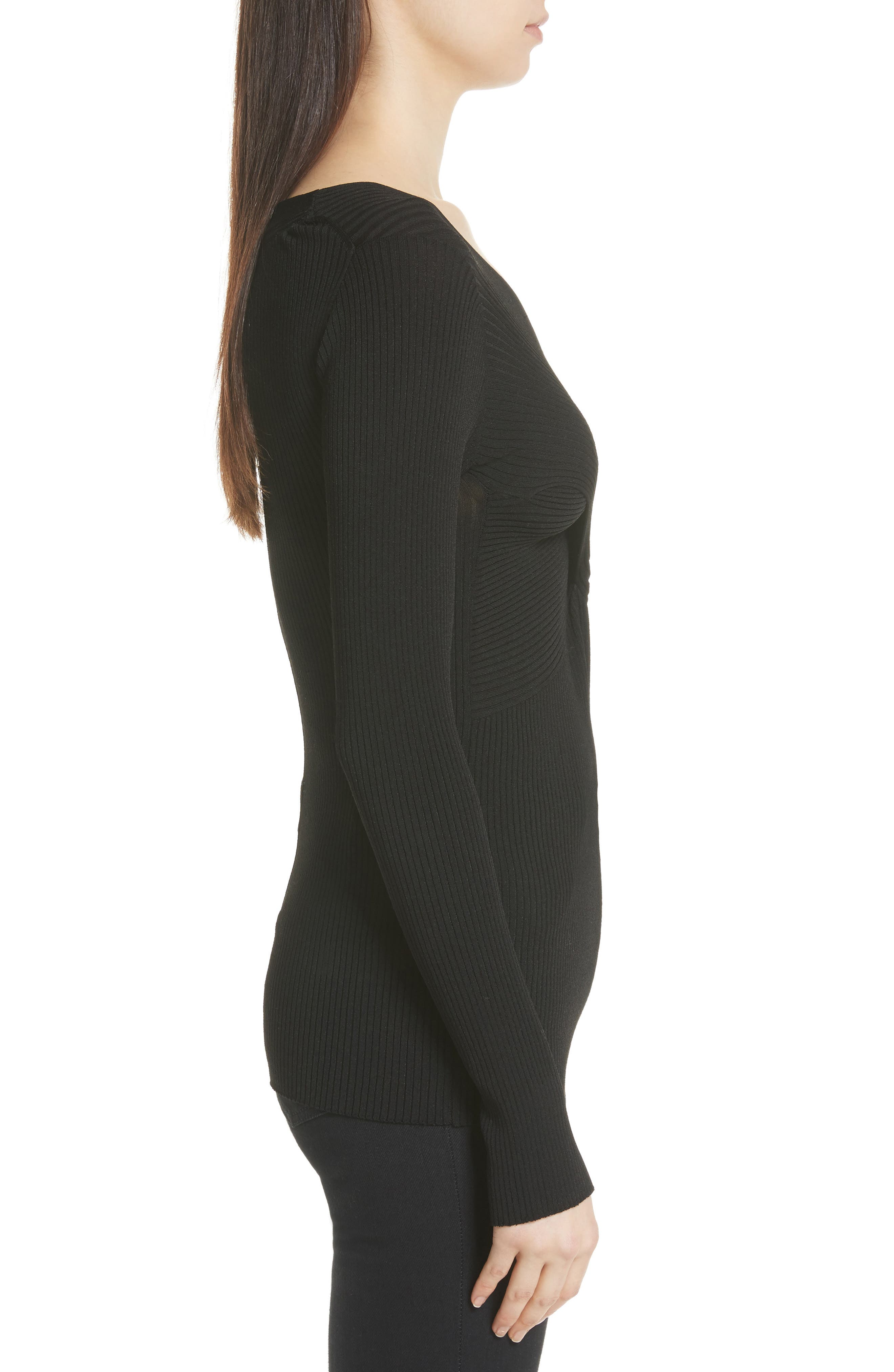 Athena Faux Wrap Sweater,                             Alternate thumbnail 3, color,                             Black Onyx