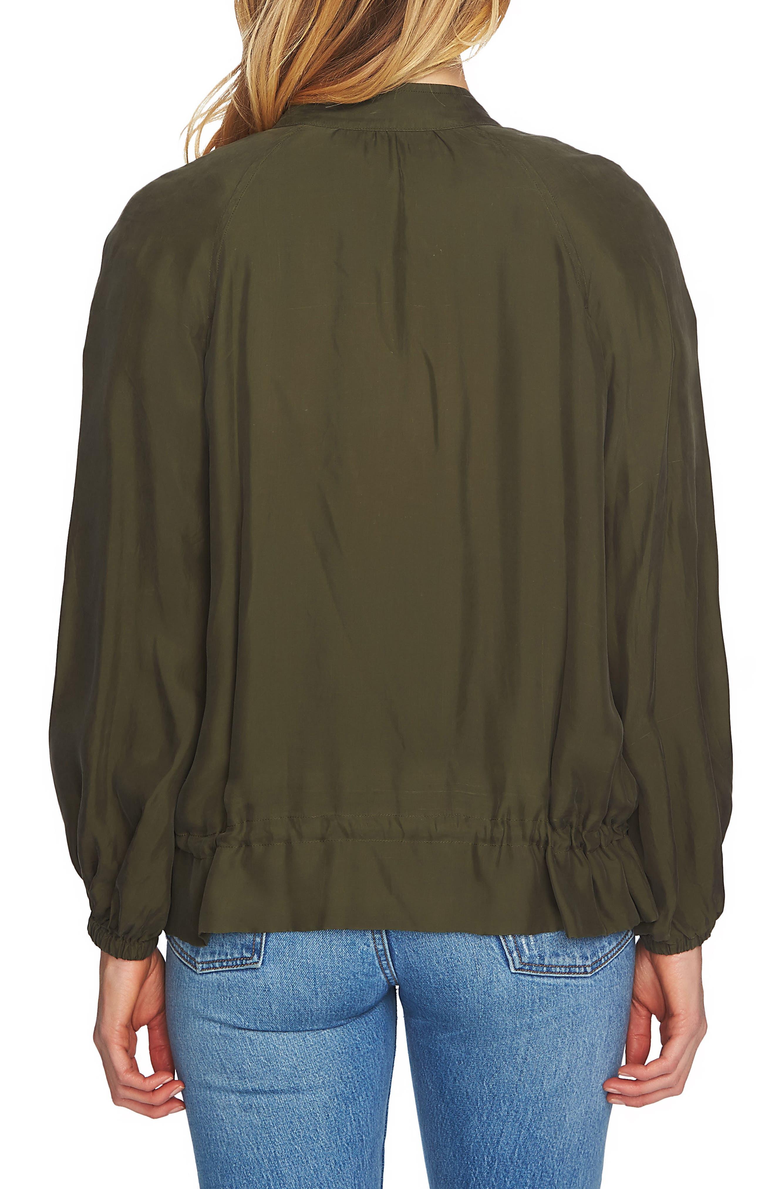 Blouson Sleeve Bomber Jacket,                             Alternate thumbnail 2, color,                             Olive Tree