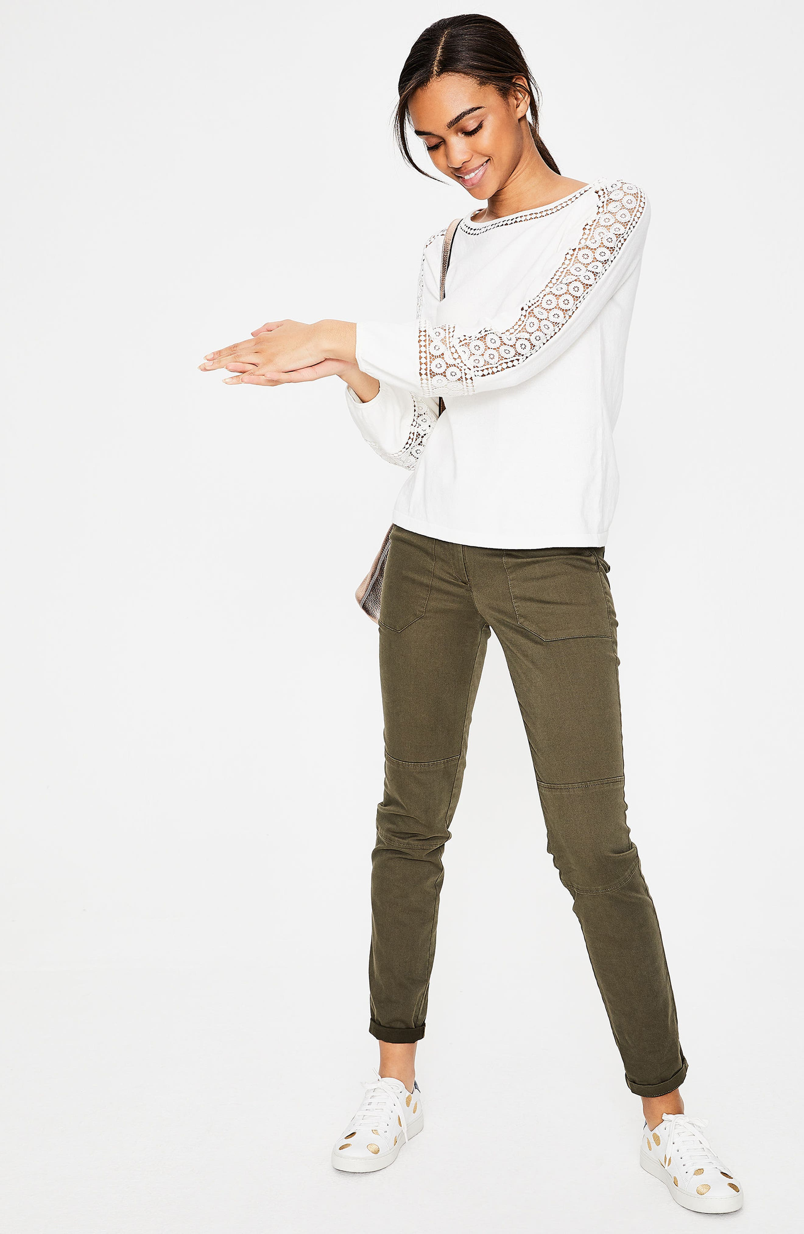 Lace Inset Cotton Sweater,                             Alternate thumbnail 5, color,                             Ivory