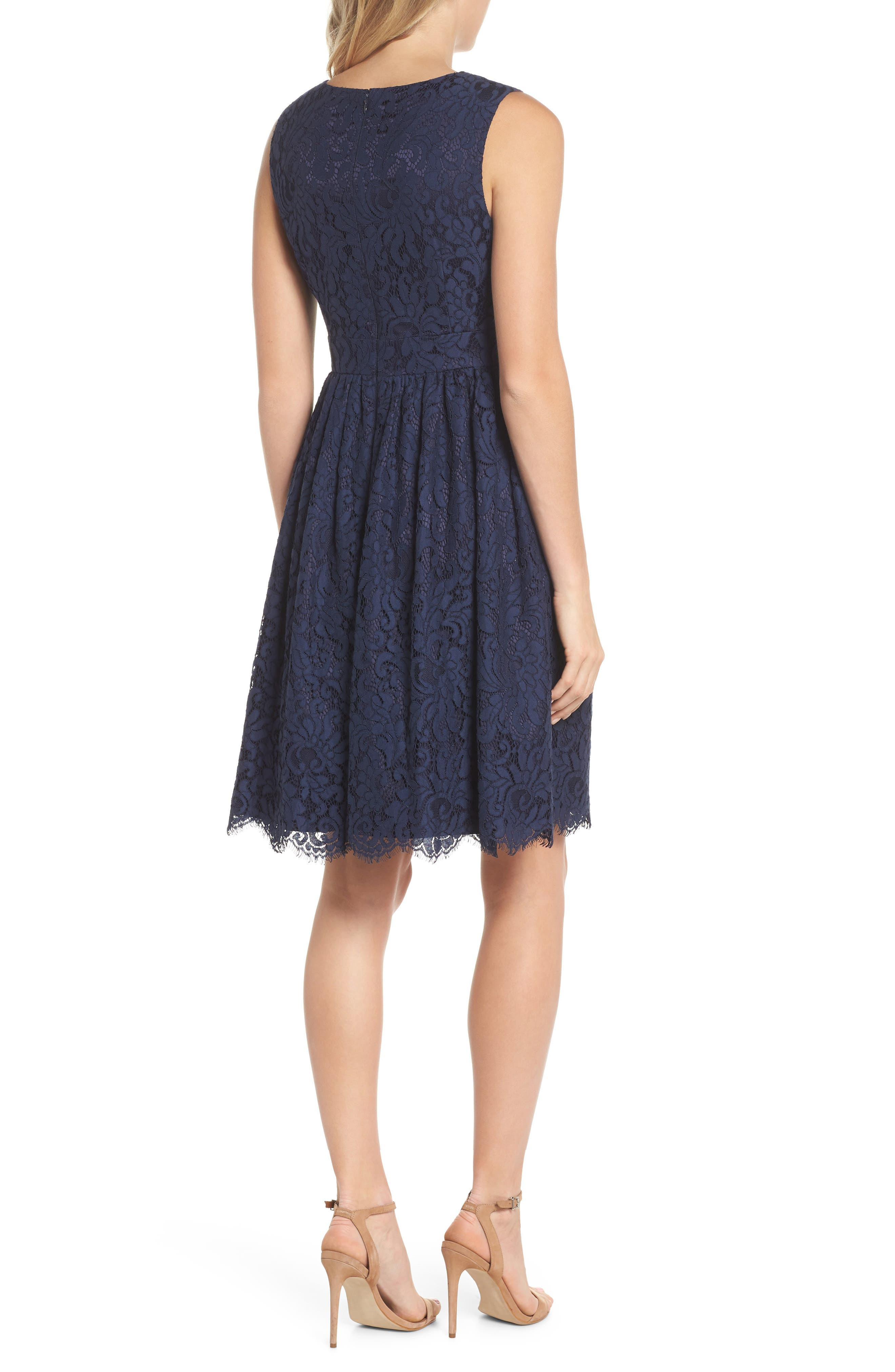 Sleeveless Lace Fit & Flare Dress,                             Alternate thumbnail 2, color,                             Navy