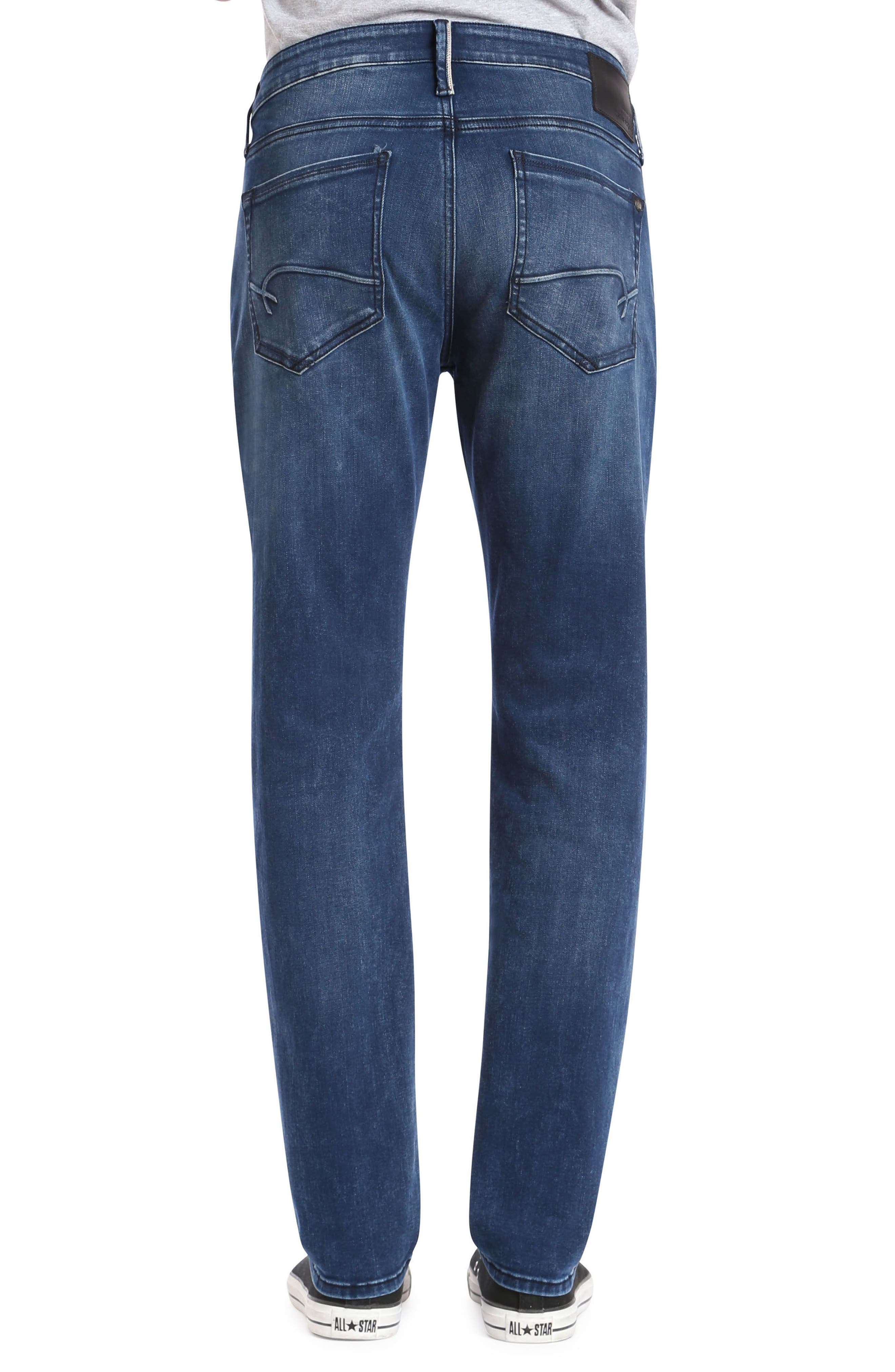 Marcus Slim Straight Leg Jeans,                             Alternate thumbnail 2, color,                             Forest Blue White Edge