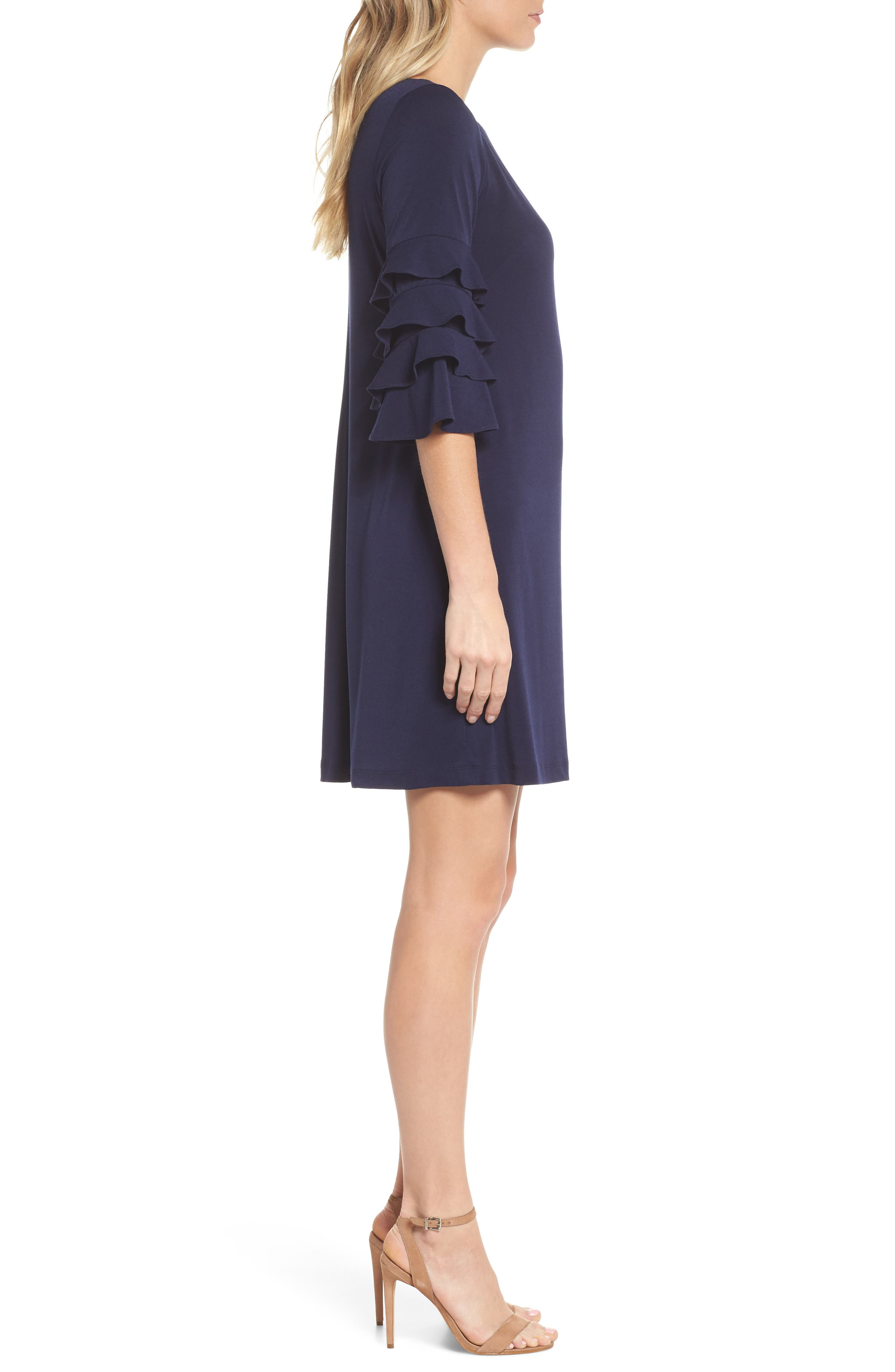 Tiered Sleeve Crepe Shift Dress,                             Alternate thumbnail 3, color,                             Navy