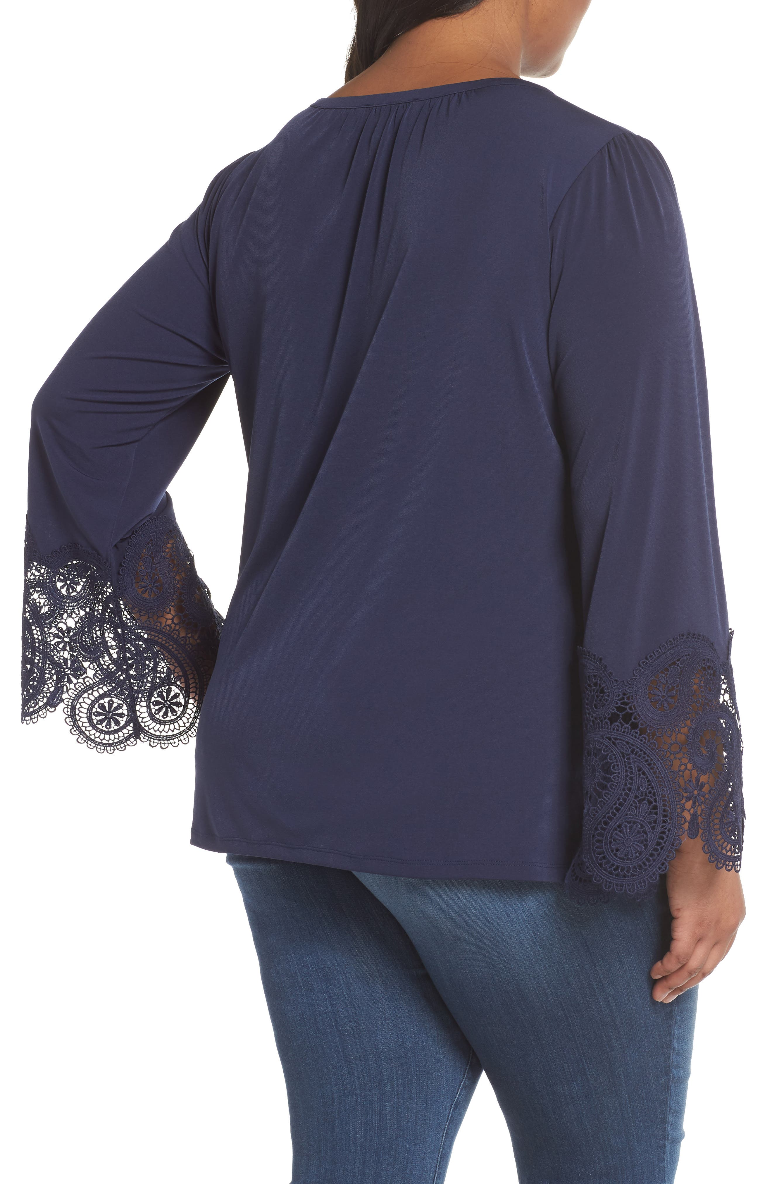 Lace Cuff Top,                             Alternate thumbnail 2, color,                             True Navy