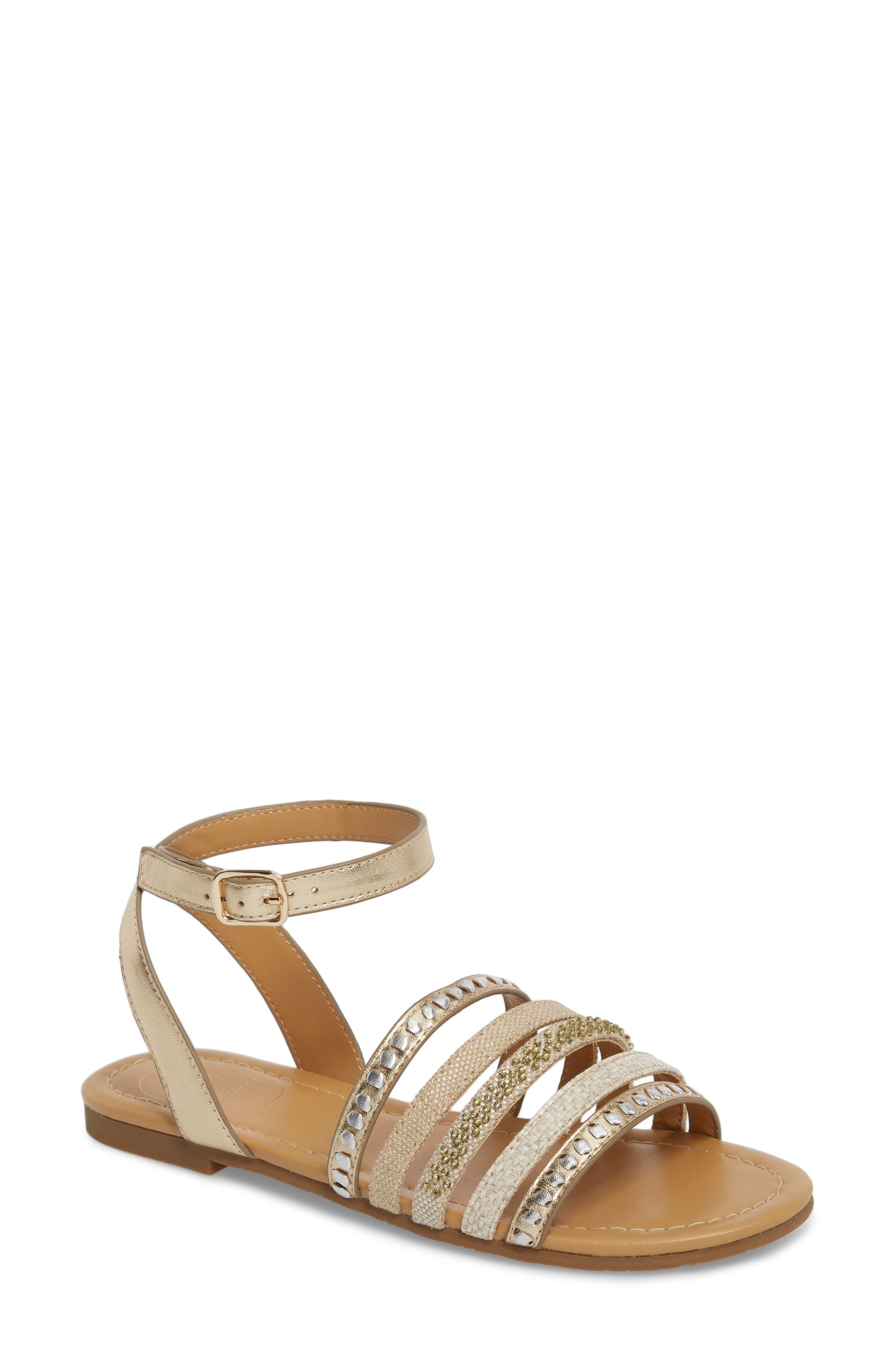 Hannah Braided Embellished Sandal,                         Main,                         color, Platinum/ Silver Leather