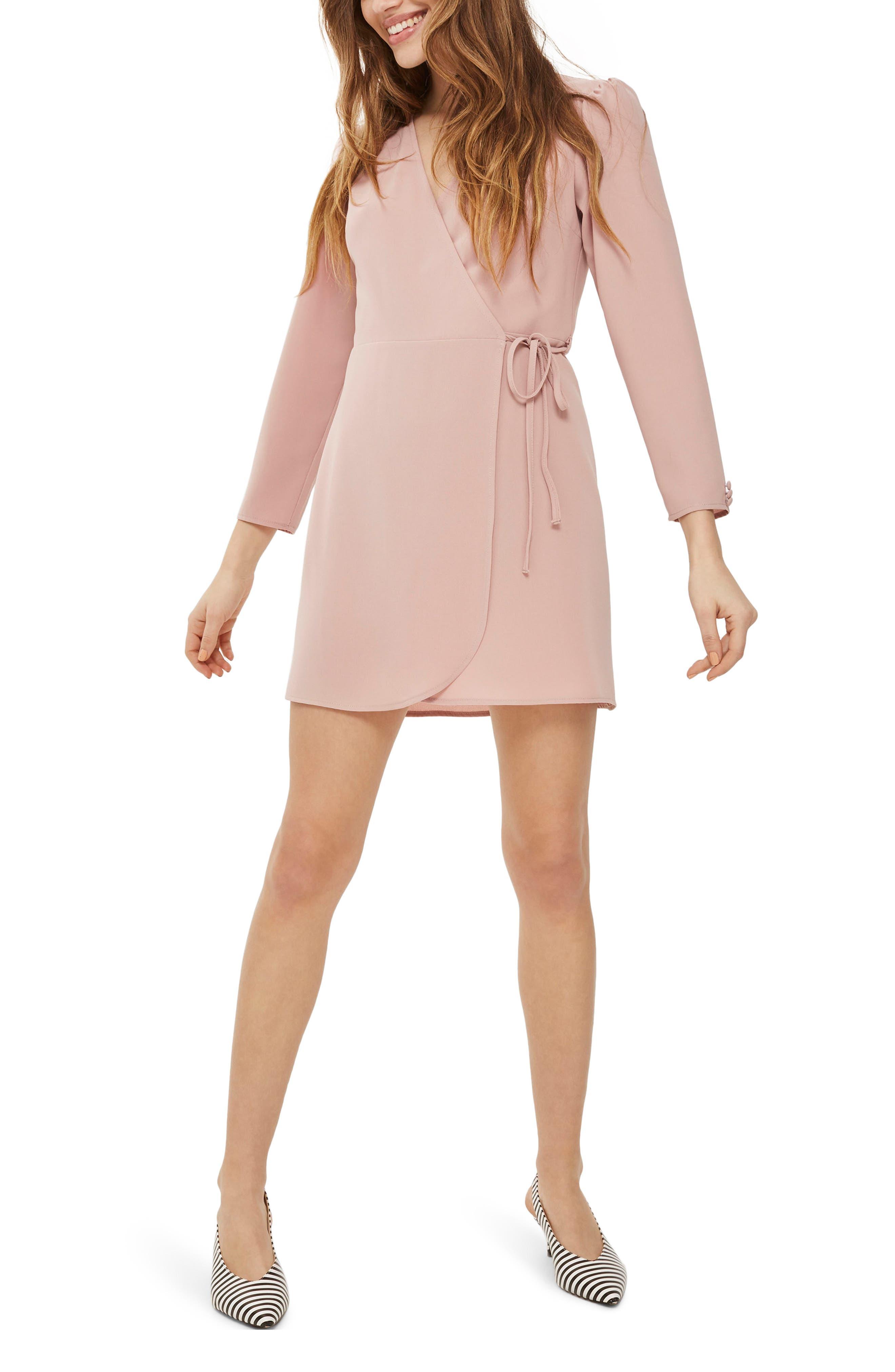 Crepe Wrap Minidress,                         Main,                         color, Blush