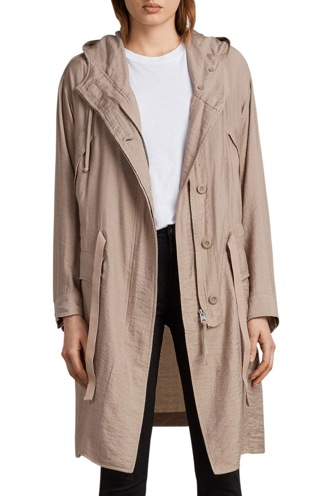 Kinsley Hooded Jacket,                         Main,                         color, Dusty Pink