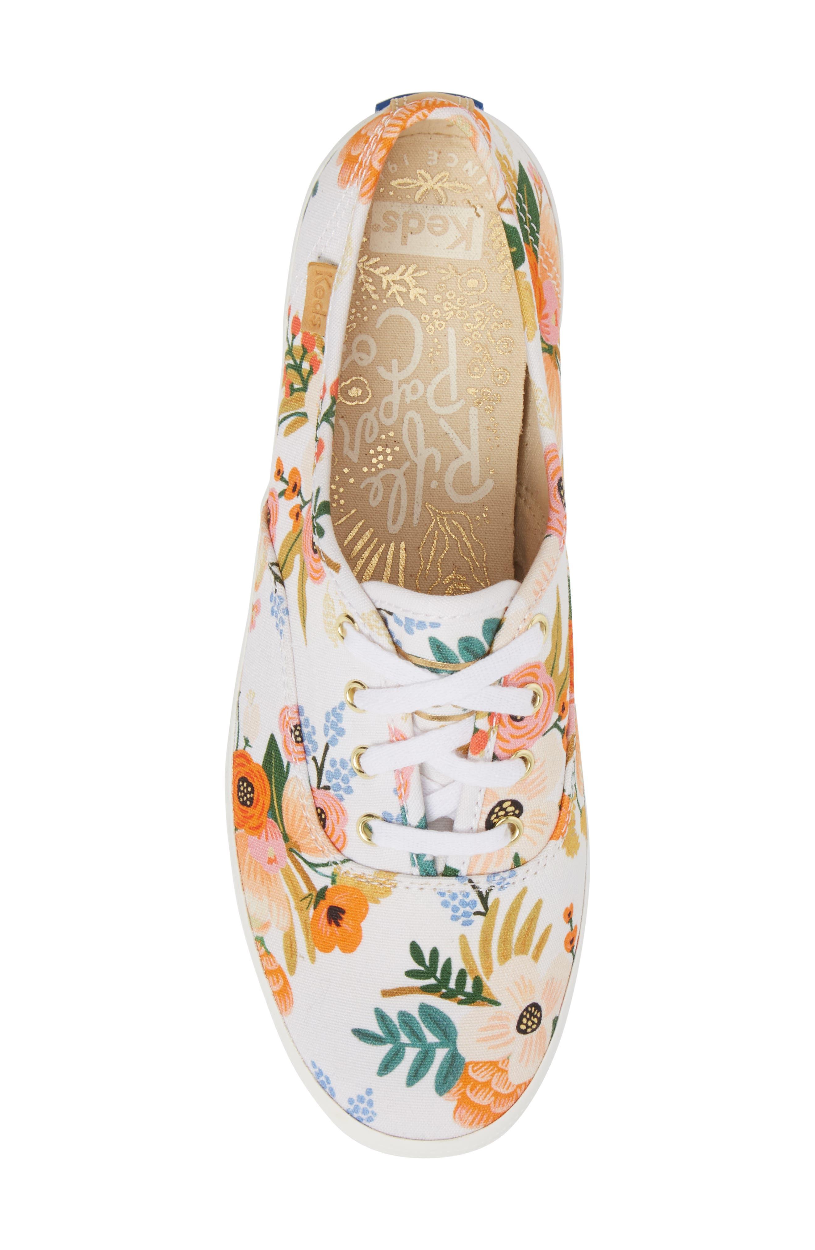 x Rifle Paper Co. Champion Floral Print Sneaker,                             Alternate thumbnail 5, color,                             White