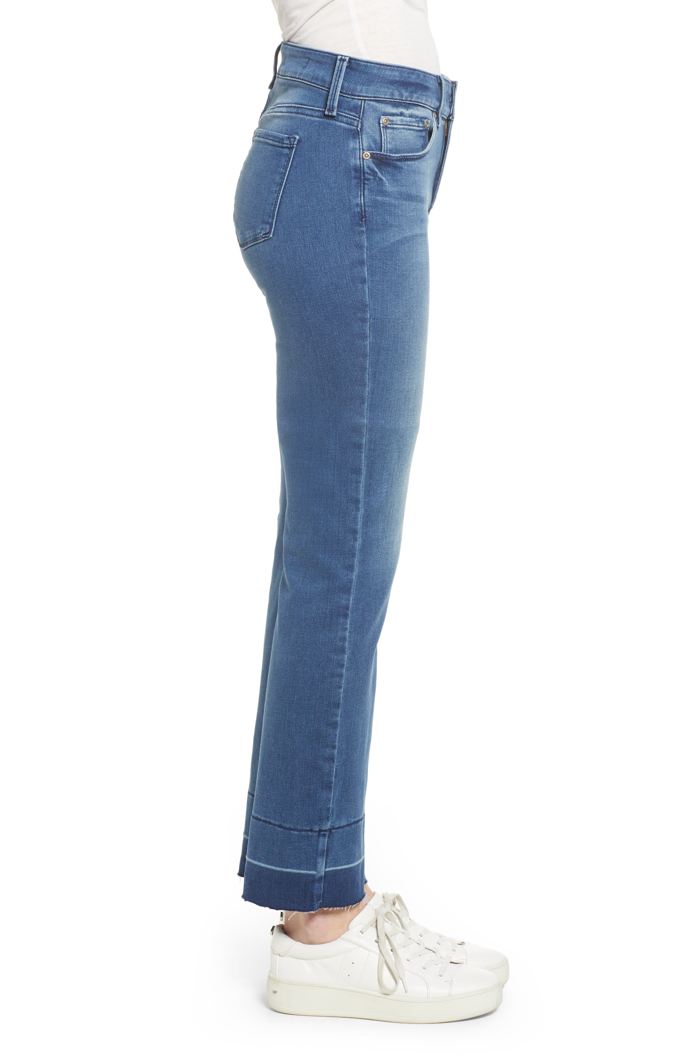 Marilyn Release Hem Stretch Straight Leg Jeans,                             Alternate thumbnail 3, color,                             Wishful