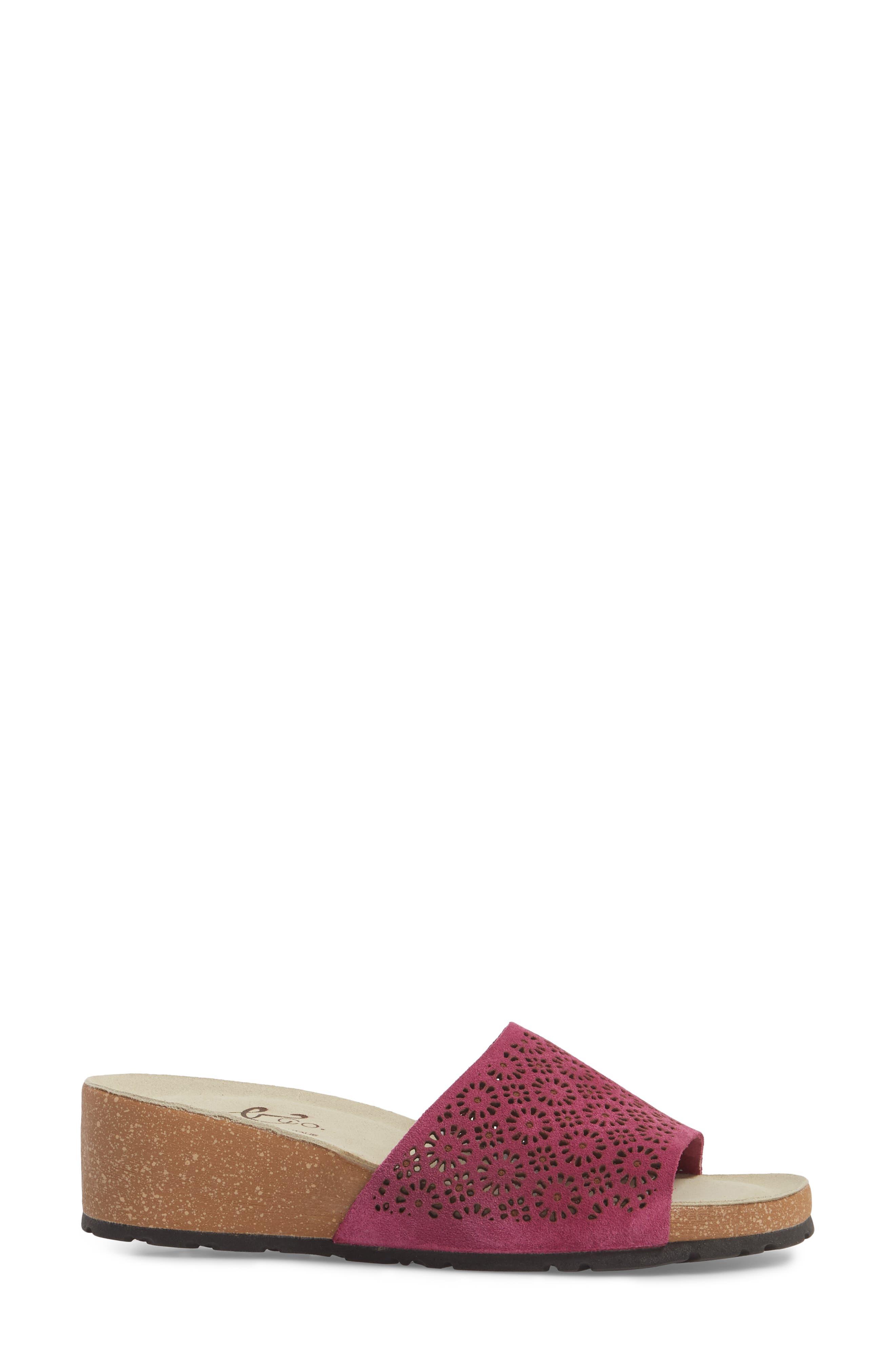 Loa Wedge Slide Sandal,                             Alternate thumbnail 3, color,                             Fuchsia Suede