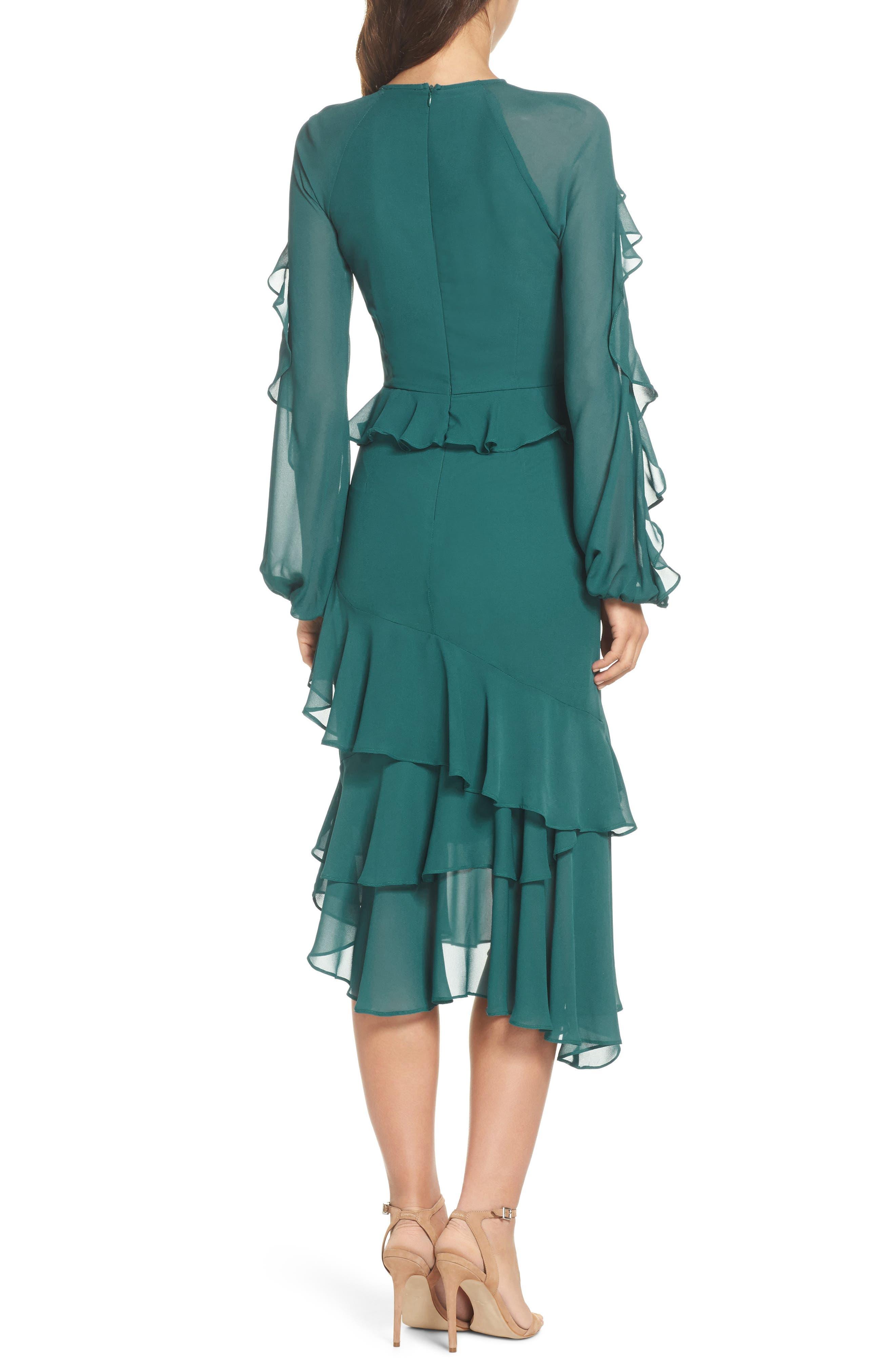 Dawn Drift Ruffle Midi Dress,                             Alternate thumbnail 2, color,                             North Sea