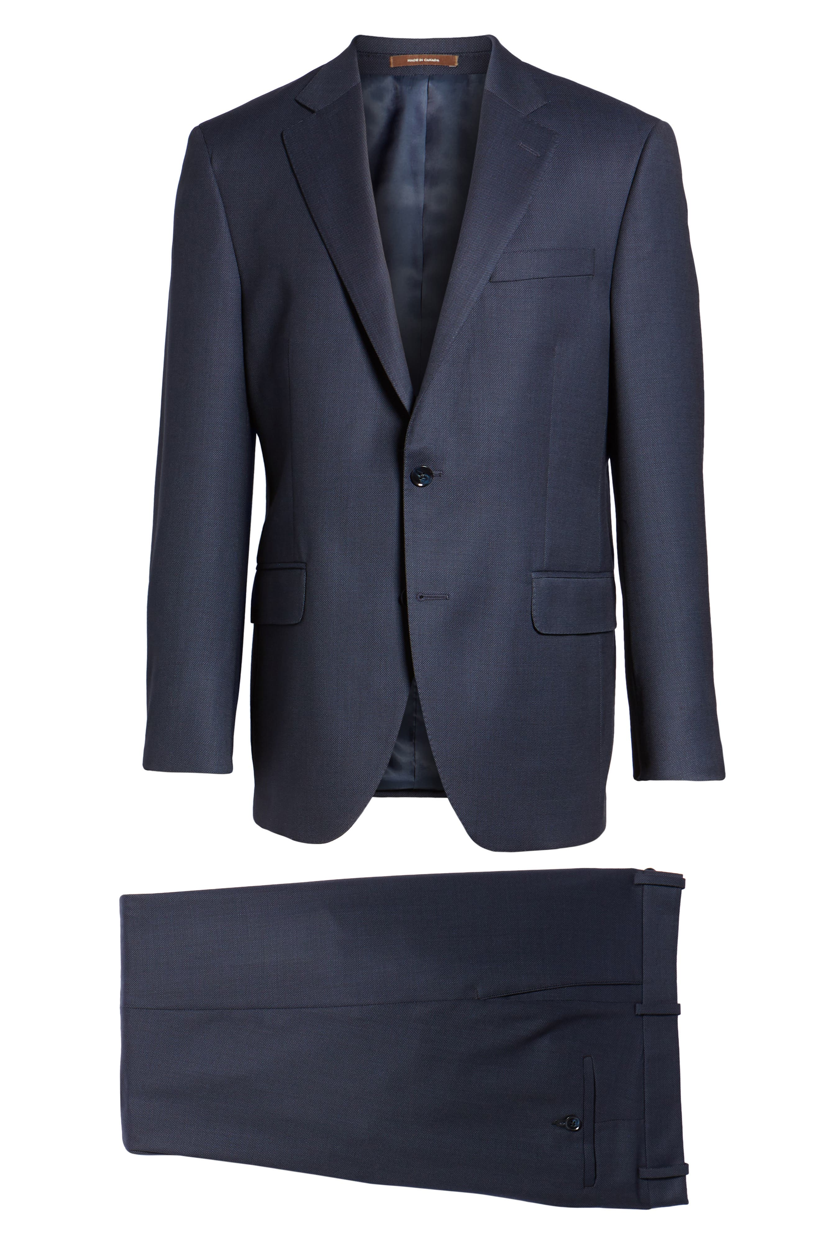 Classic Fit Bird's Eye Wool Suit,                             Alternate thumbnail 8, color,                             Navy
