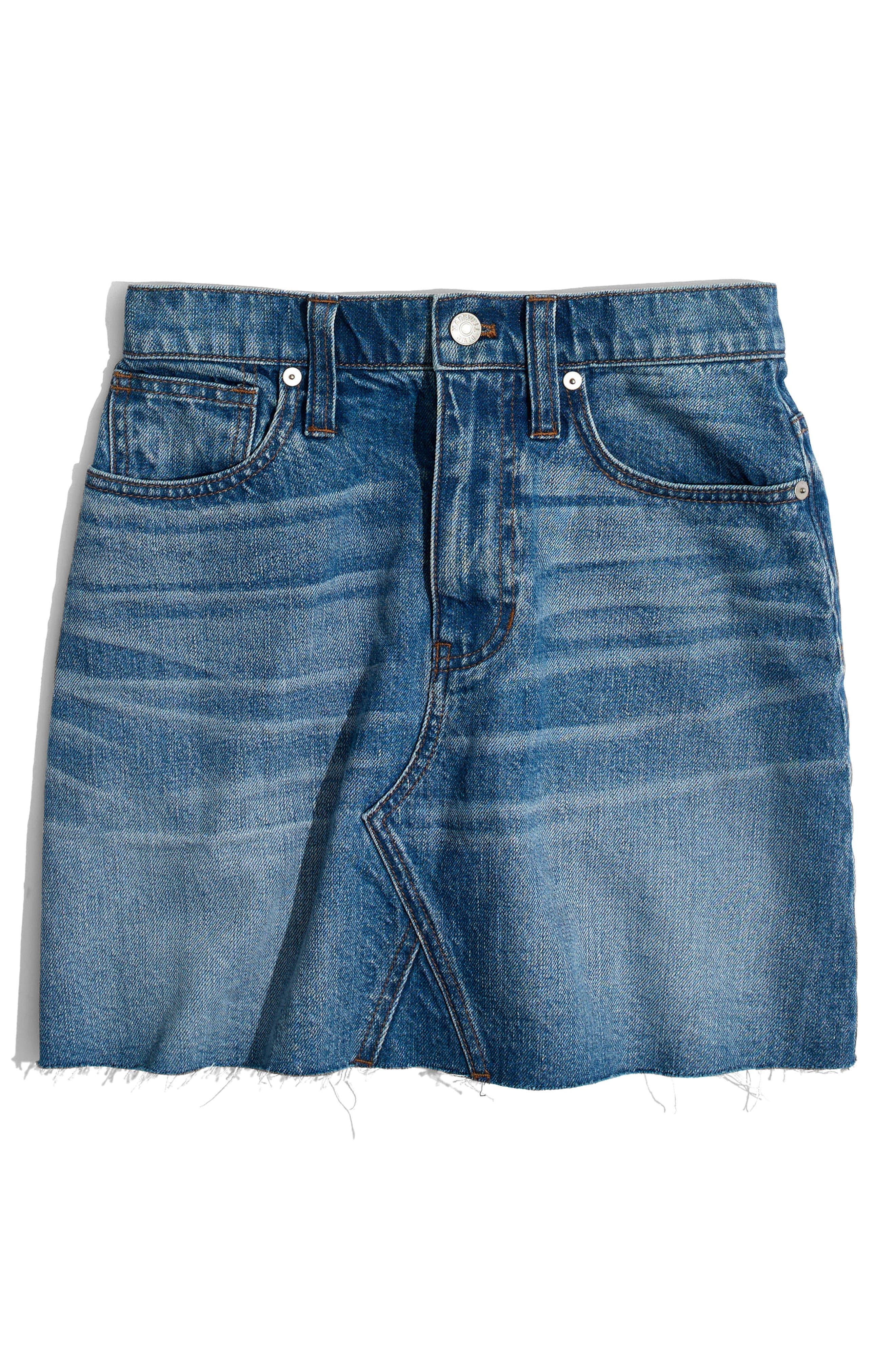 Frisco Denim Miniskirt,                             Alternate thumbnail 4, color,                             Leandra Wash
