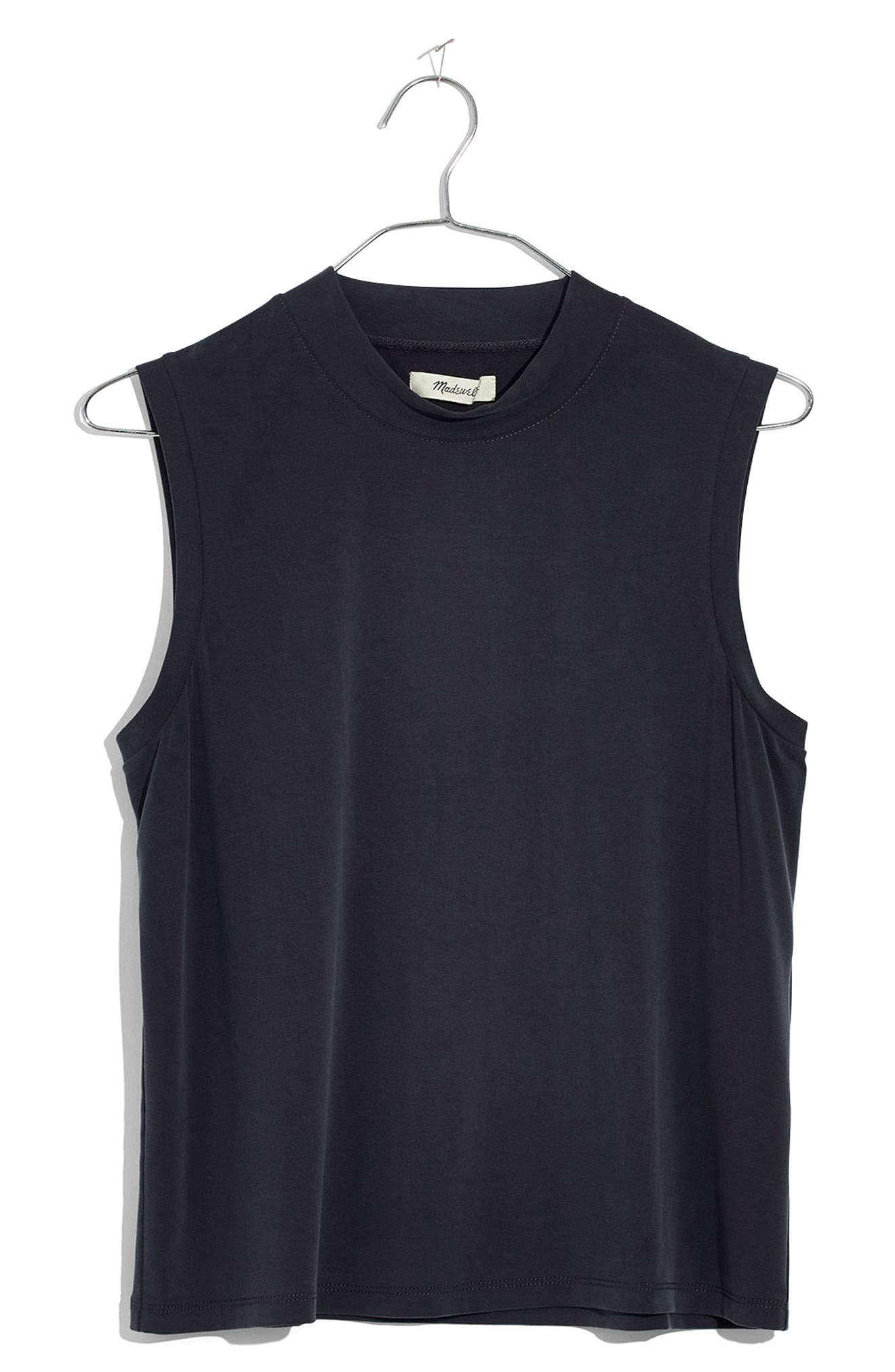 Sandwashed Mock Neck Tank,                             Alternate thumbnail 4, color,                             Dark Metal