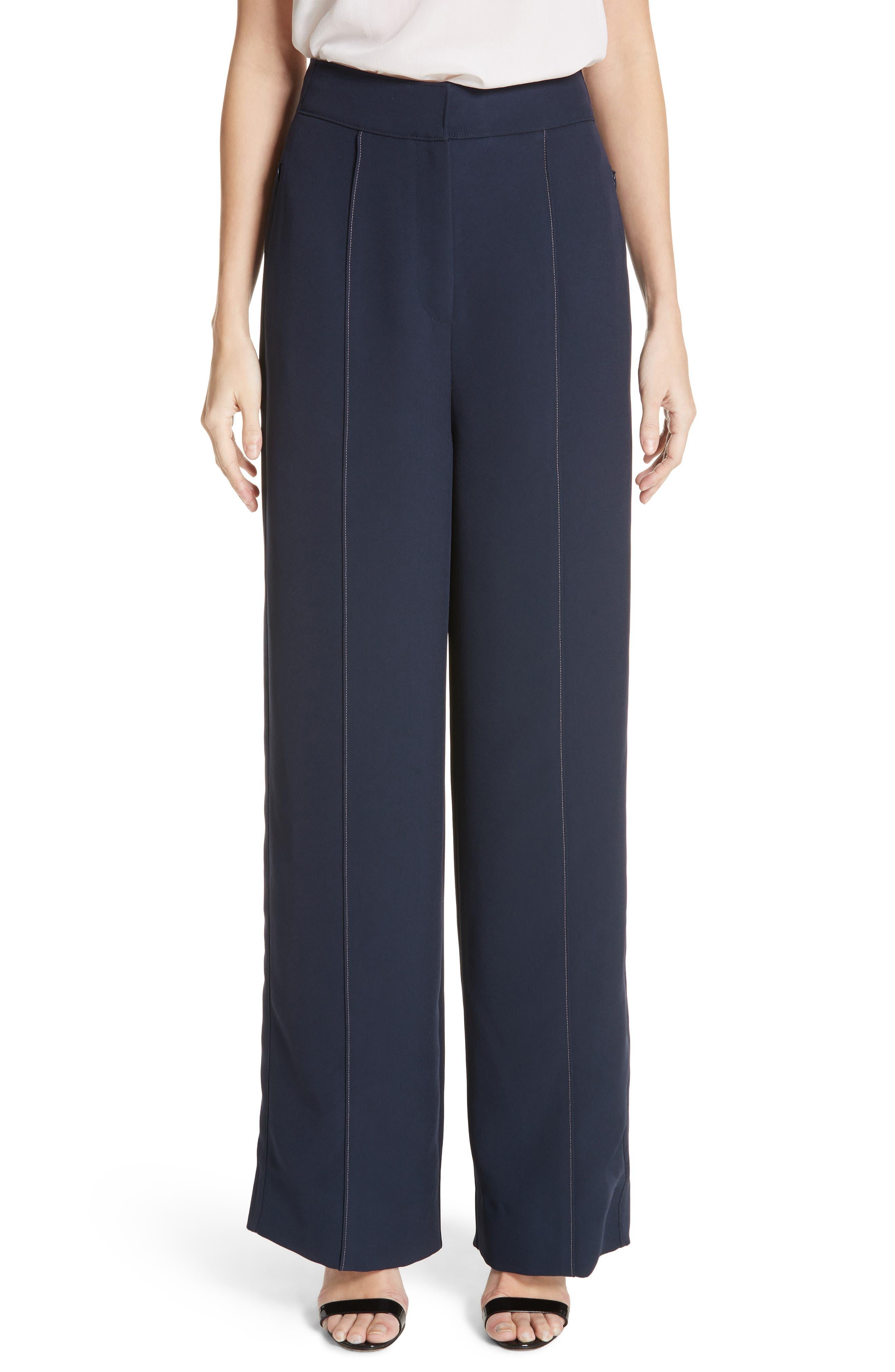 Lapari Pintuck Trousers,                         Main,                         color, Navy