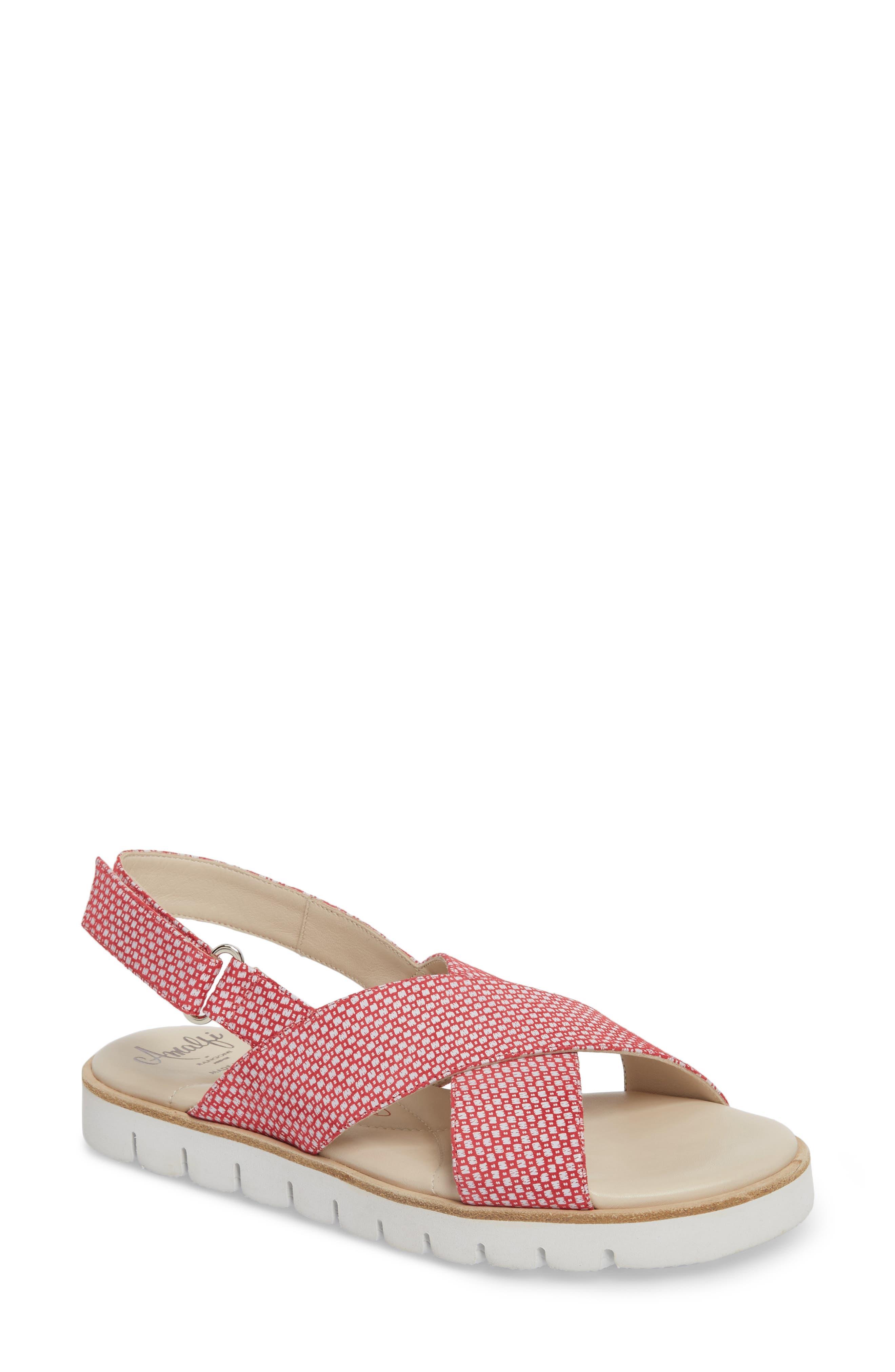 Borgo Sandal,                             Main thumbnail 1, color,                             Red/ White Leather