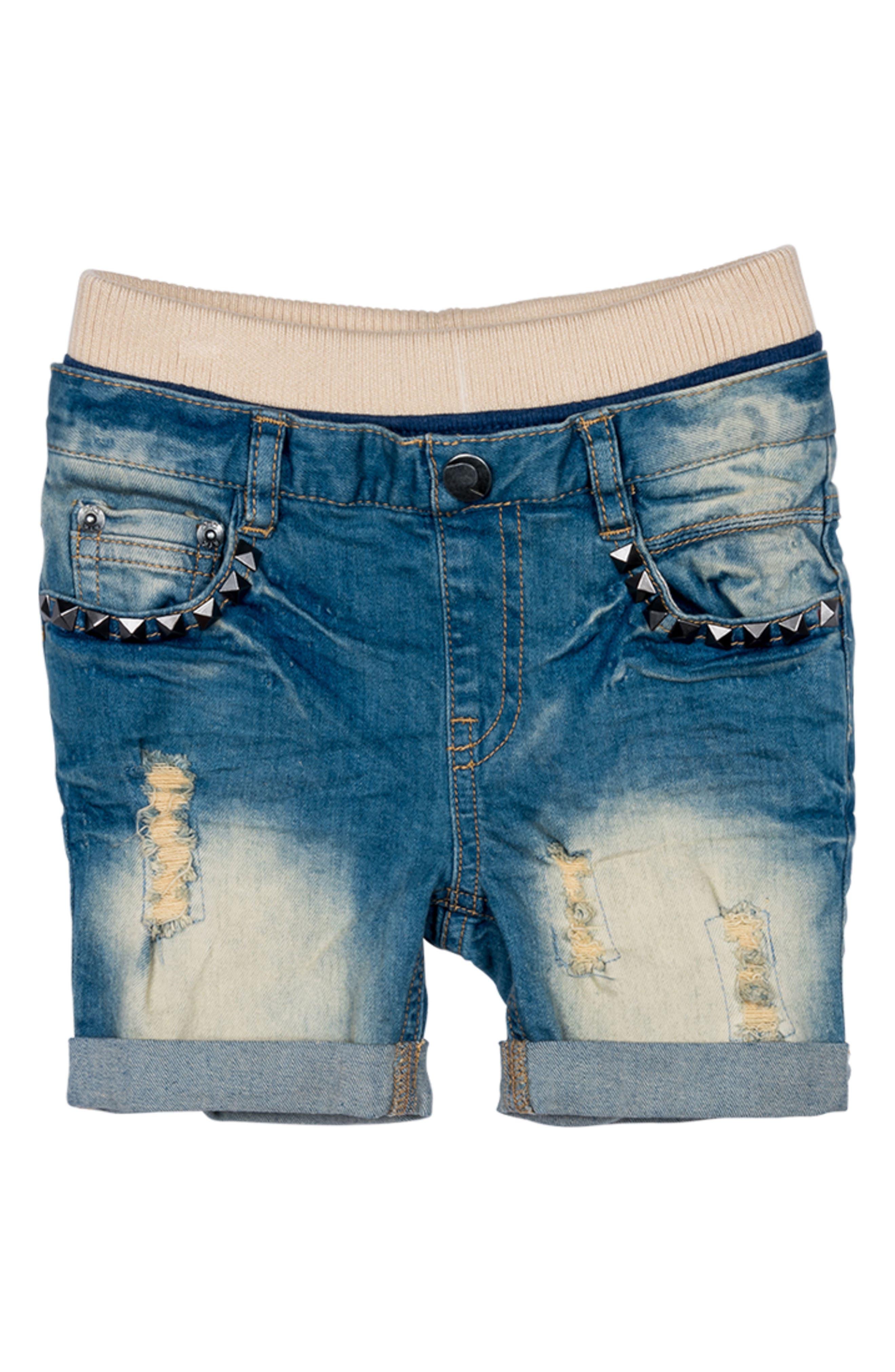 Heavy Metal Denim Shorts,                             Main thumbnail 1, color,                             Blue Denim
