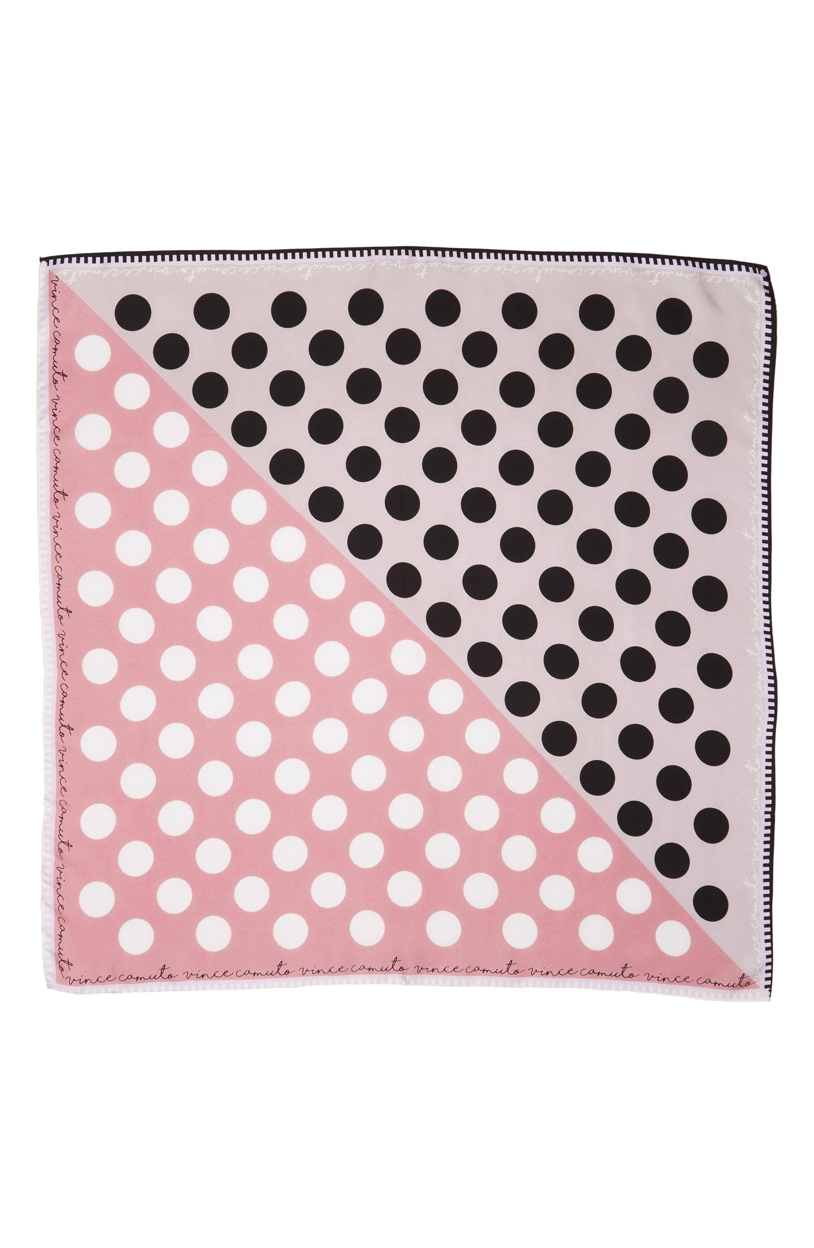Polka Stripe Square Silk Scarf,                             Alternate thumbnail 2, color,                             Lilac Black