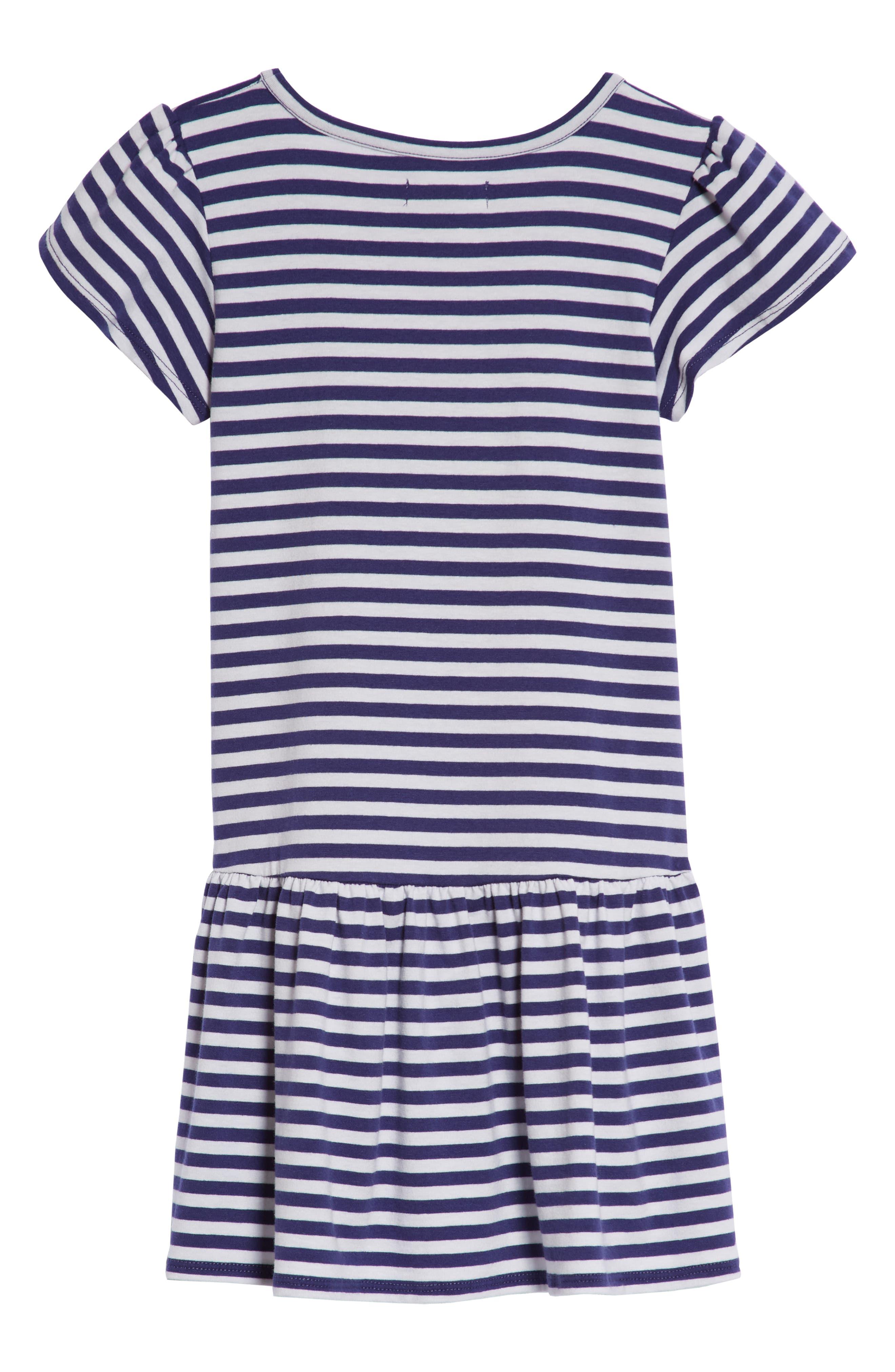 Graphic Stripe Dress,                             Alternate thumbnail 2, color,                             Navy Ribbon Sparkle Heart