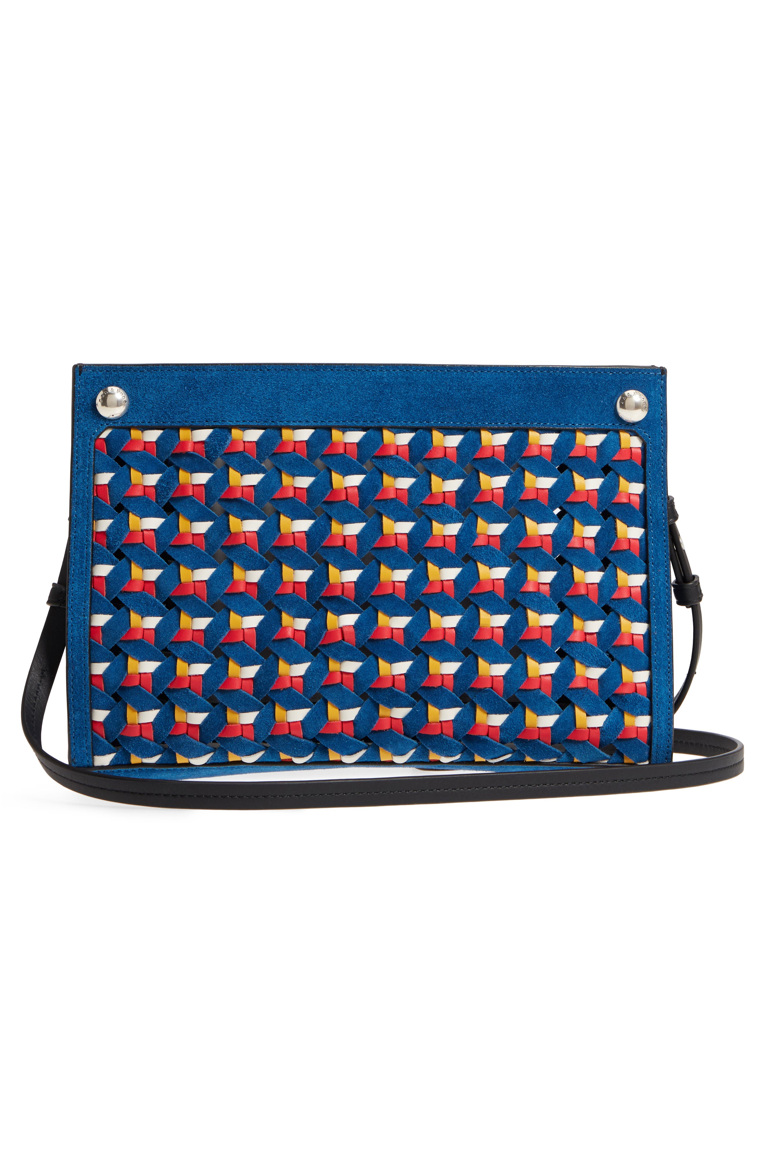 Compass Woven Suede & Leather Crossbody Bag,                             Alternate thumbnail 3, color,                             Multi Woven