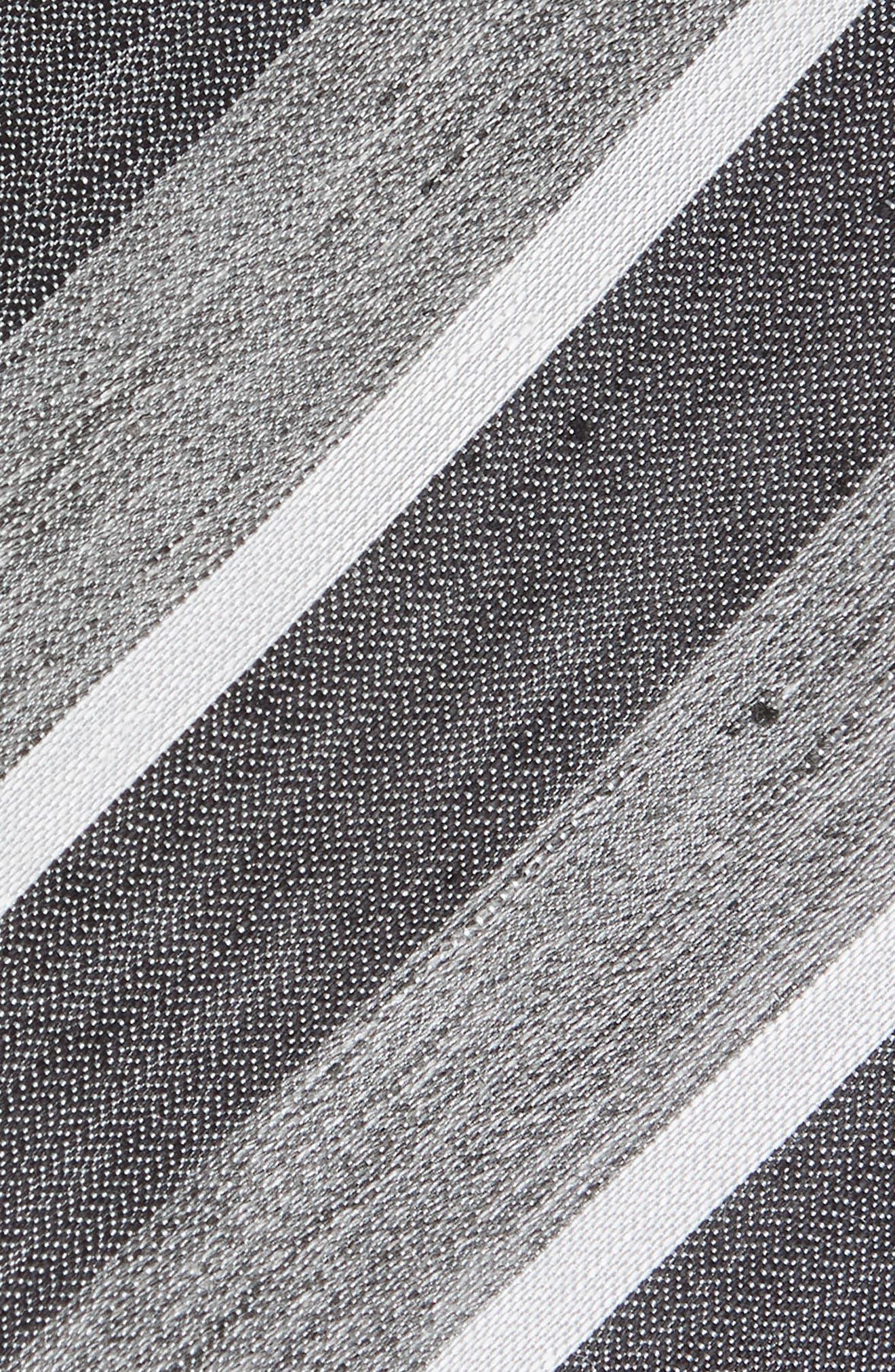 Stripe Linen & Silk Tie,                             Alternate thumbnail 2, color,                             Grey