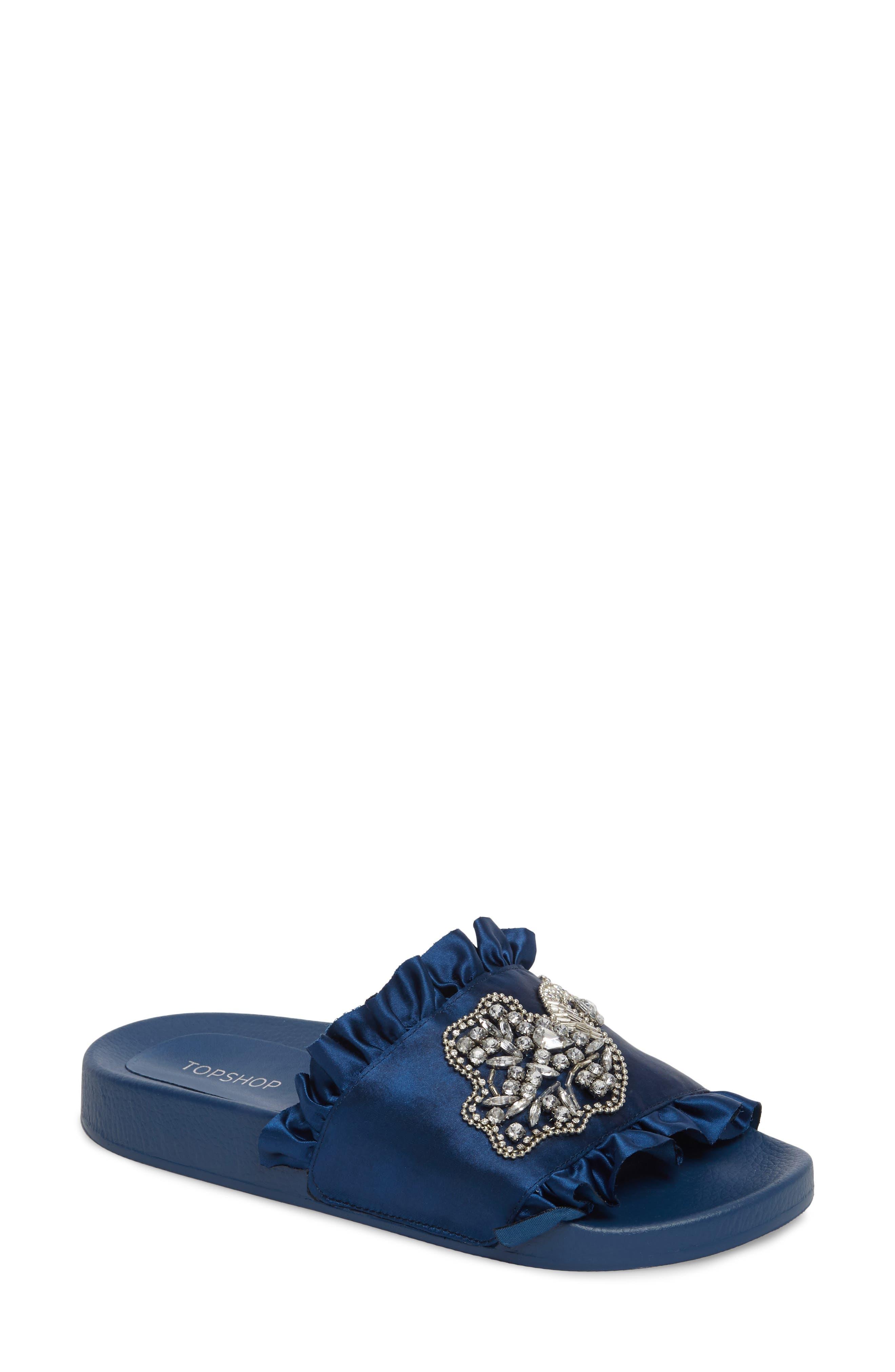Topshop Hermione Peacock Embellished Slide Sandal (Women)