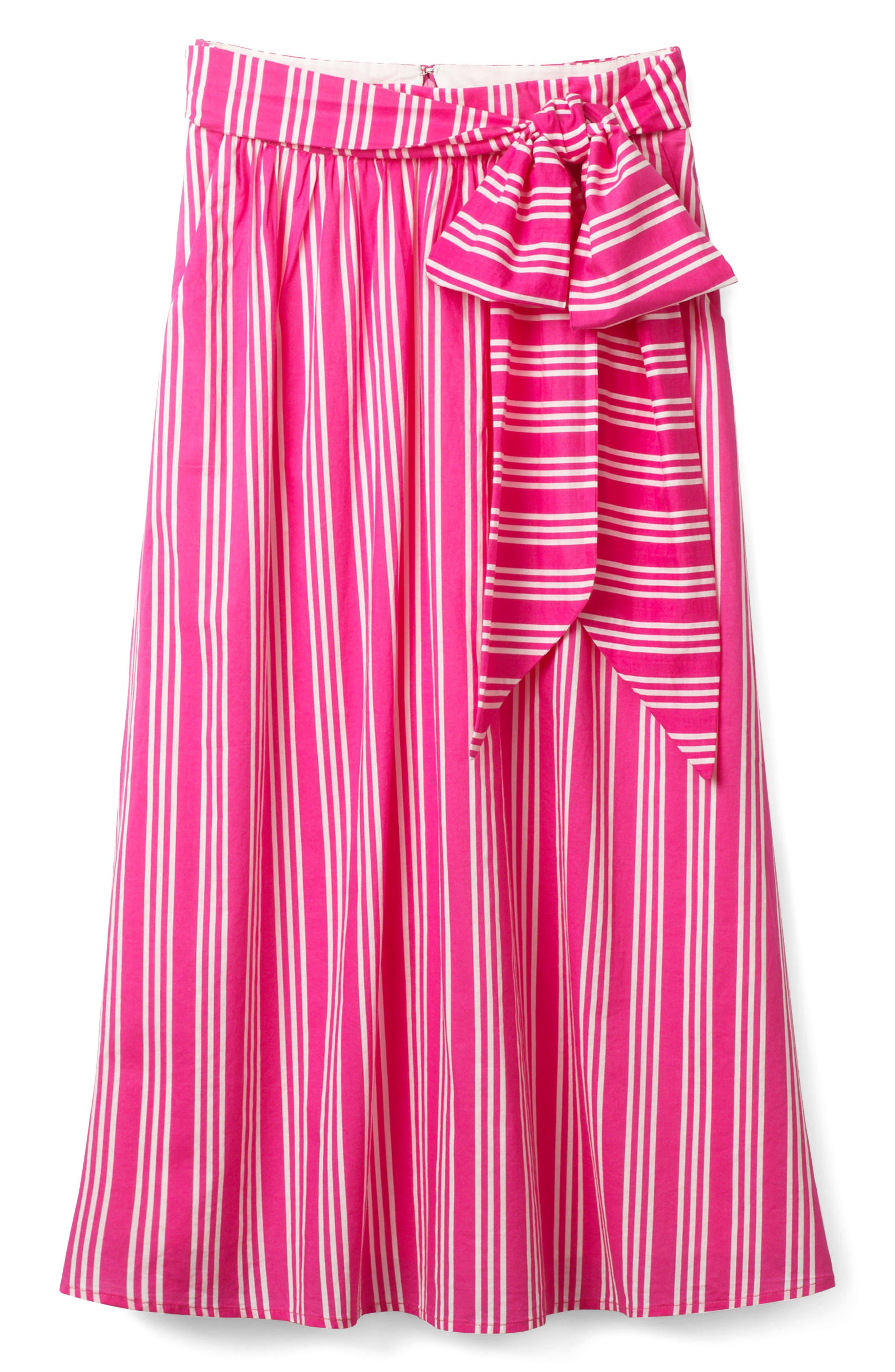 Kiera Midi Skirt,                             Alternate thumbnail 5, color,                             Party Pink And Ecru