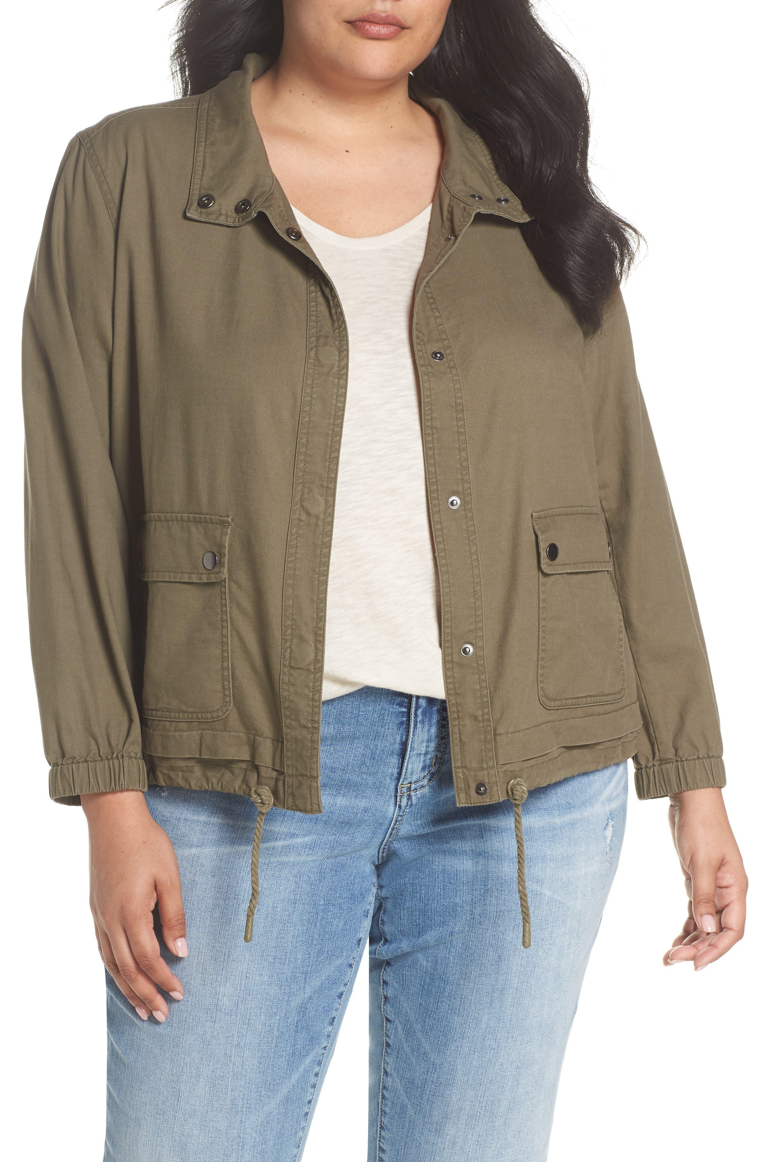 Snap Pocket Utility Jacket,                             Main thumbnail 1, color,                             Olive Kalamata