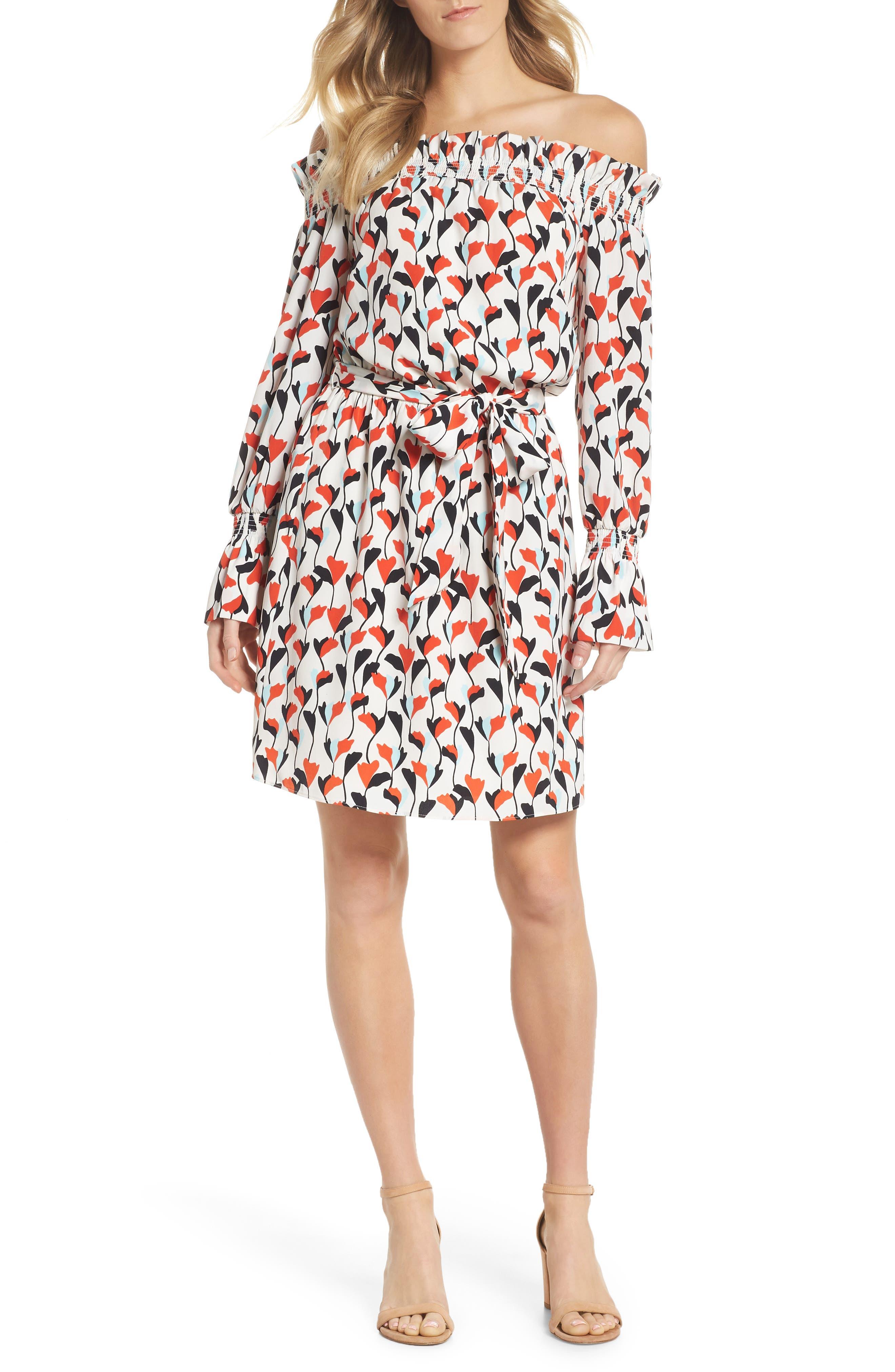 Floral Off the Shoulder Tie Waist Dress,                             Main thumbnail 1, color,                             Soft White/ Powder Blue