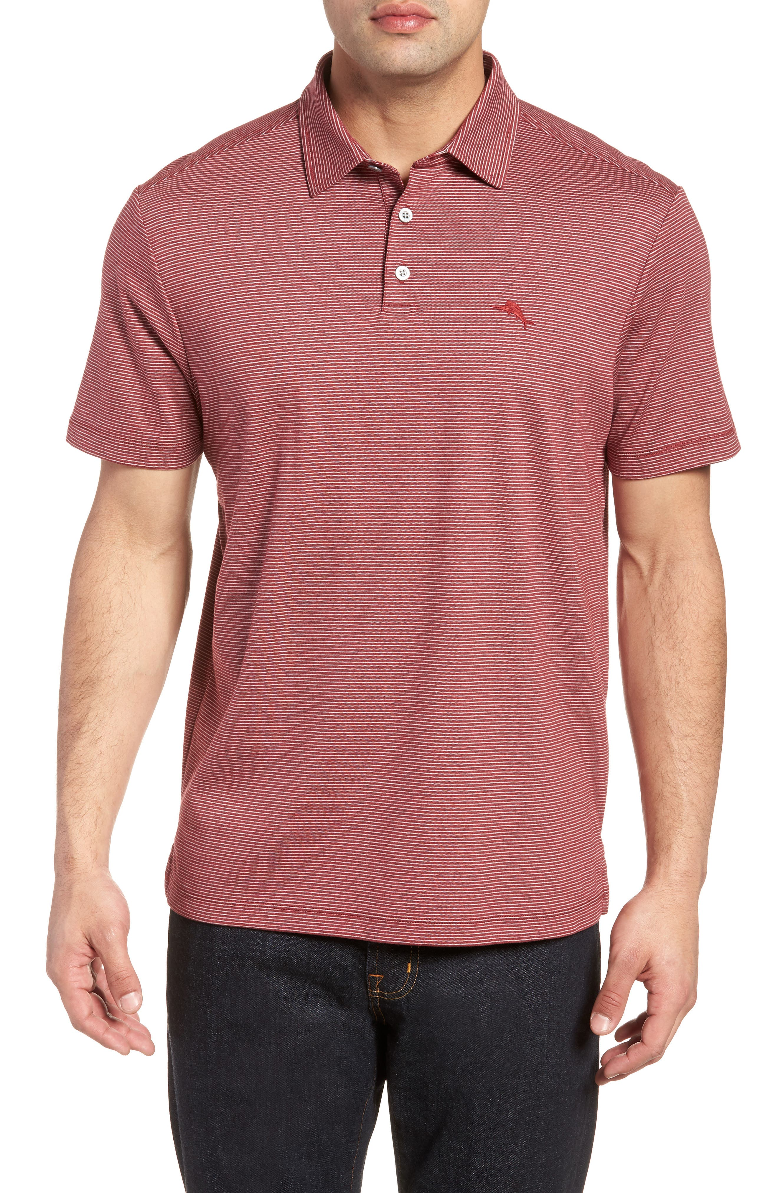 Pacific Shore Polo,                             Main thumbnail 1, color,                             Beet Red Heather