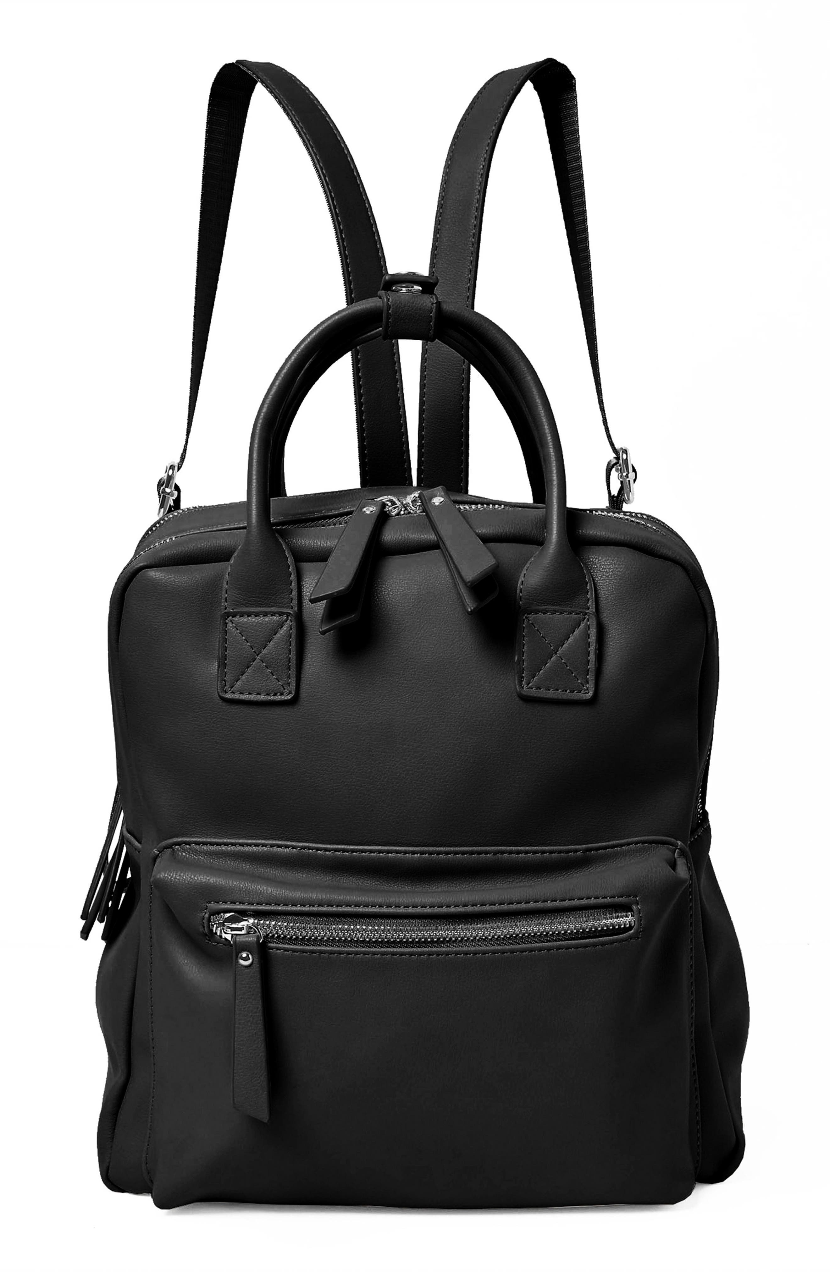 Over Exposure Vegan Leather Backpack,                         Main,                         color, Black