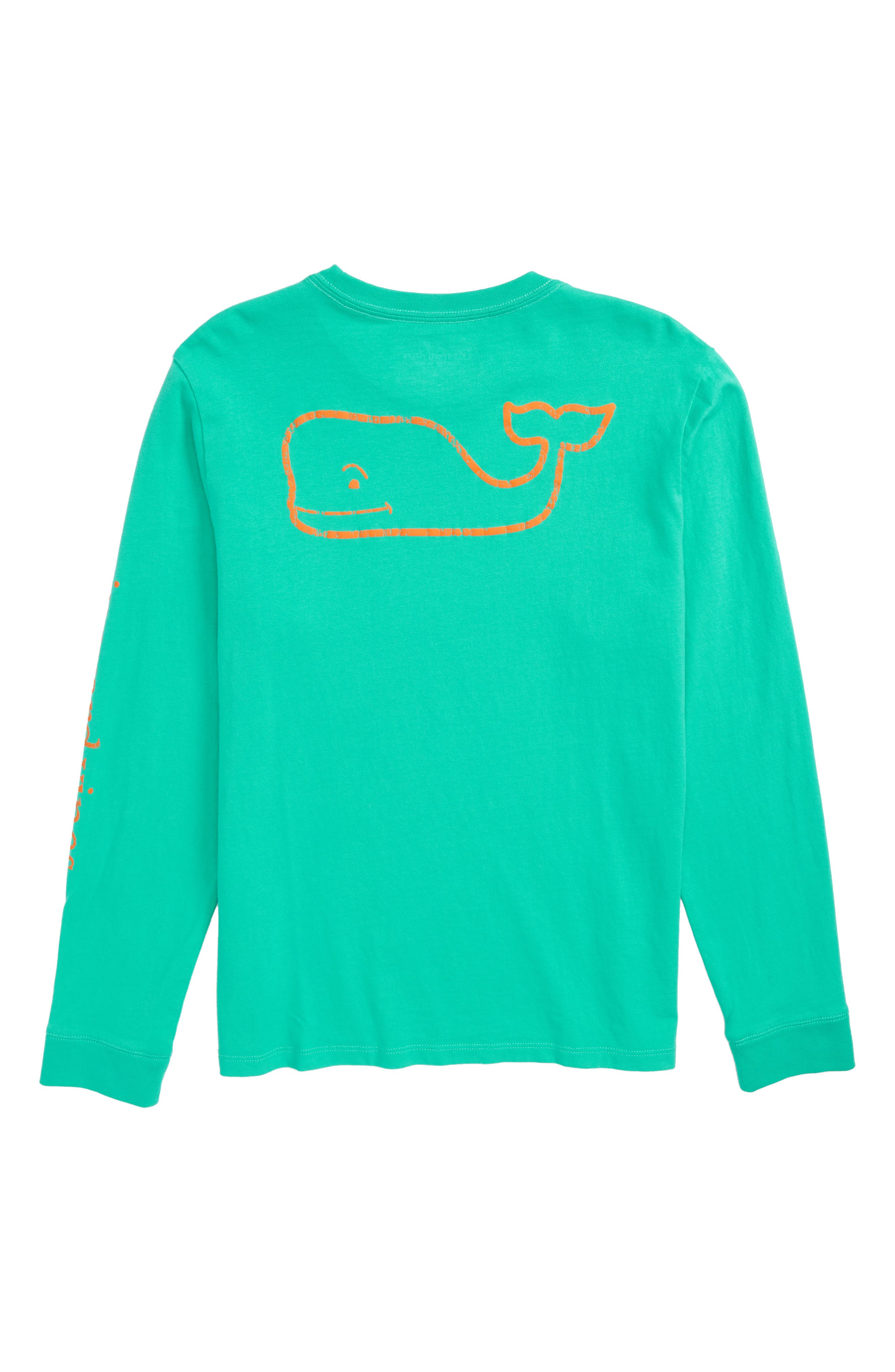 Vintage Whale Graphic Long Sleeve T-Shirt,                             Alternate thumbnail 3, color,                             Caribbean Green