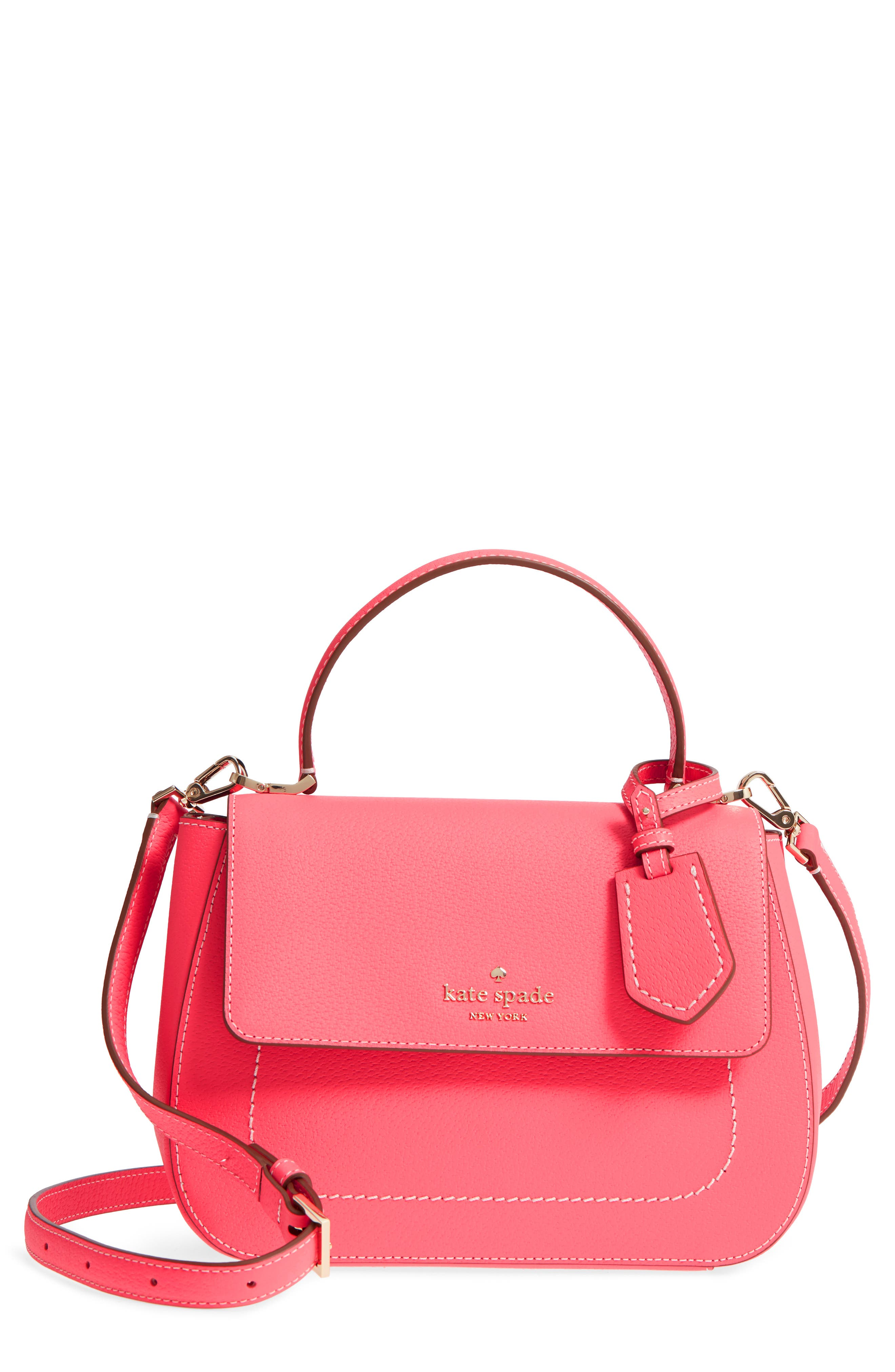 thompson street - justina leather satchel,                         Main,                         color, Bright Flamingo