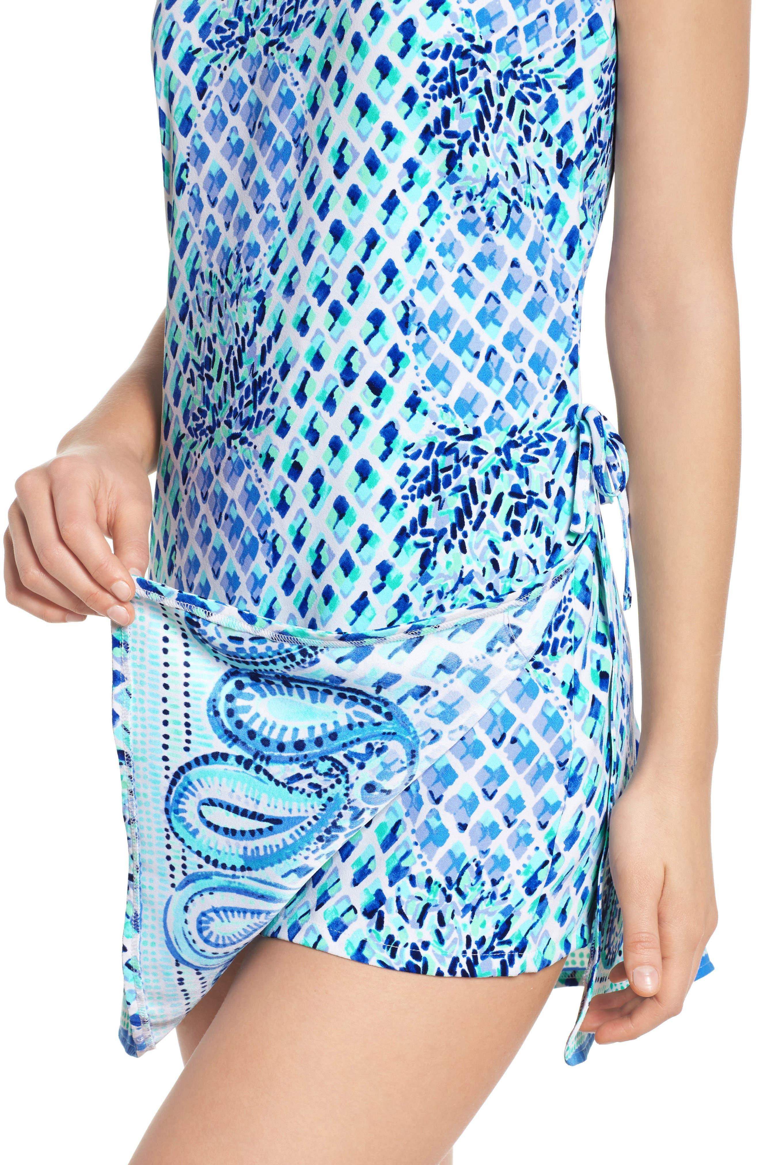 Pearl Romper Dress,                             Alternate thumbnail 4, color,                             Resort White Toe In