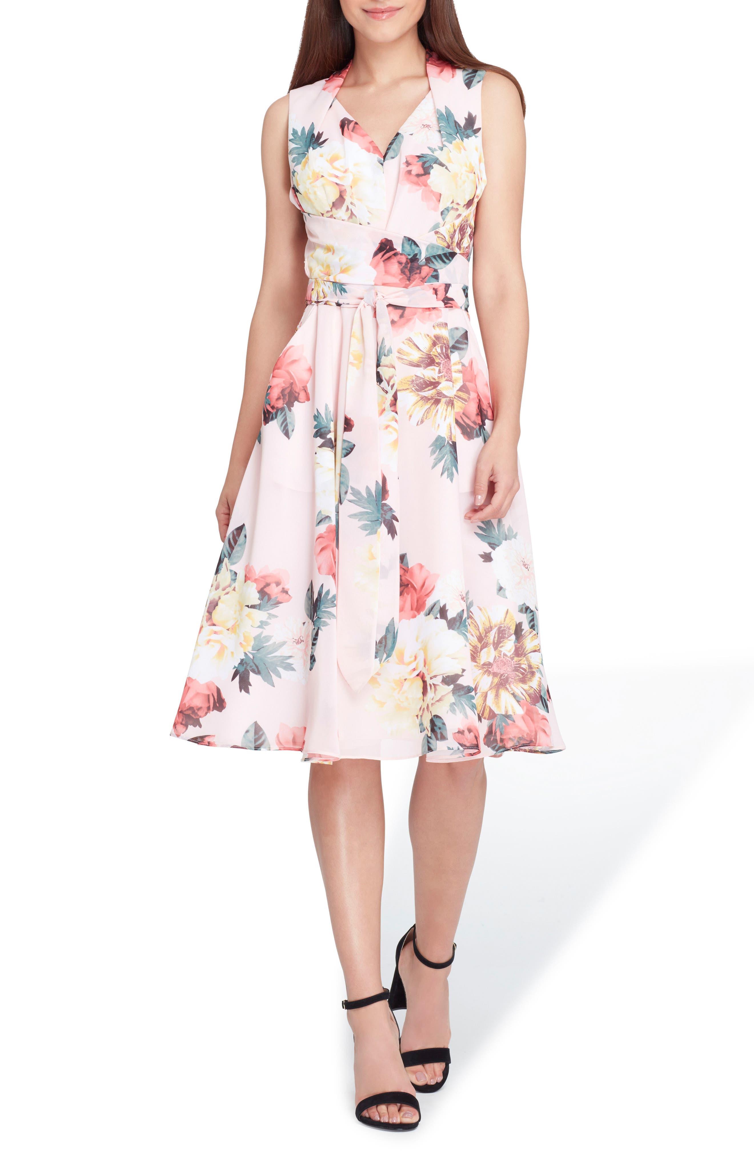 Floral Print Tie Waist Fit & Flare Dress,                             Main thumbnail 1, color,                             Blush/ Lemon/ Coral