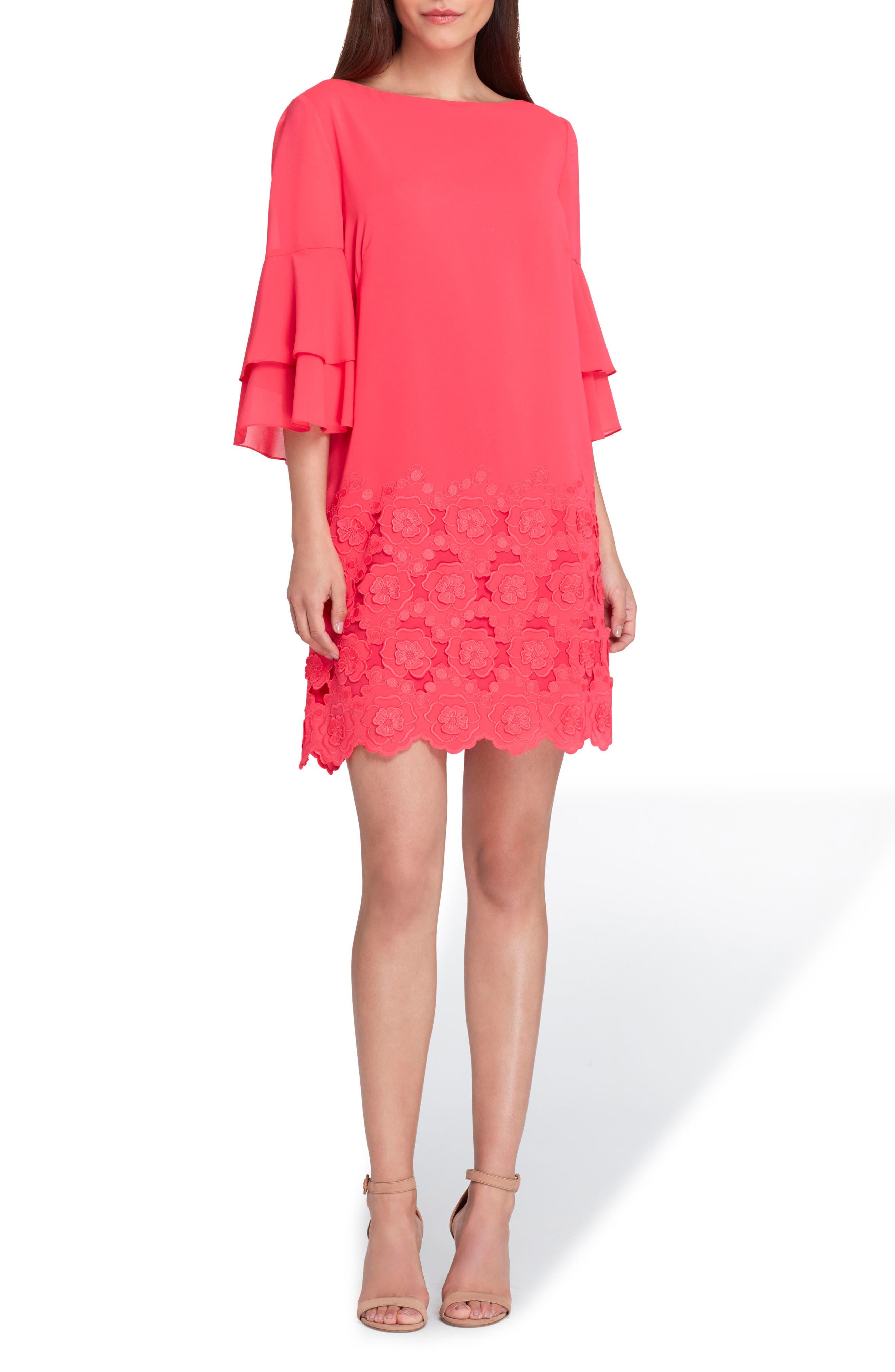 Embroidered Ruffle Sleeve Shift Dress,                         Main,                         color, Azalea