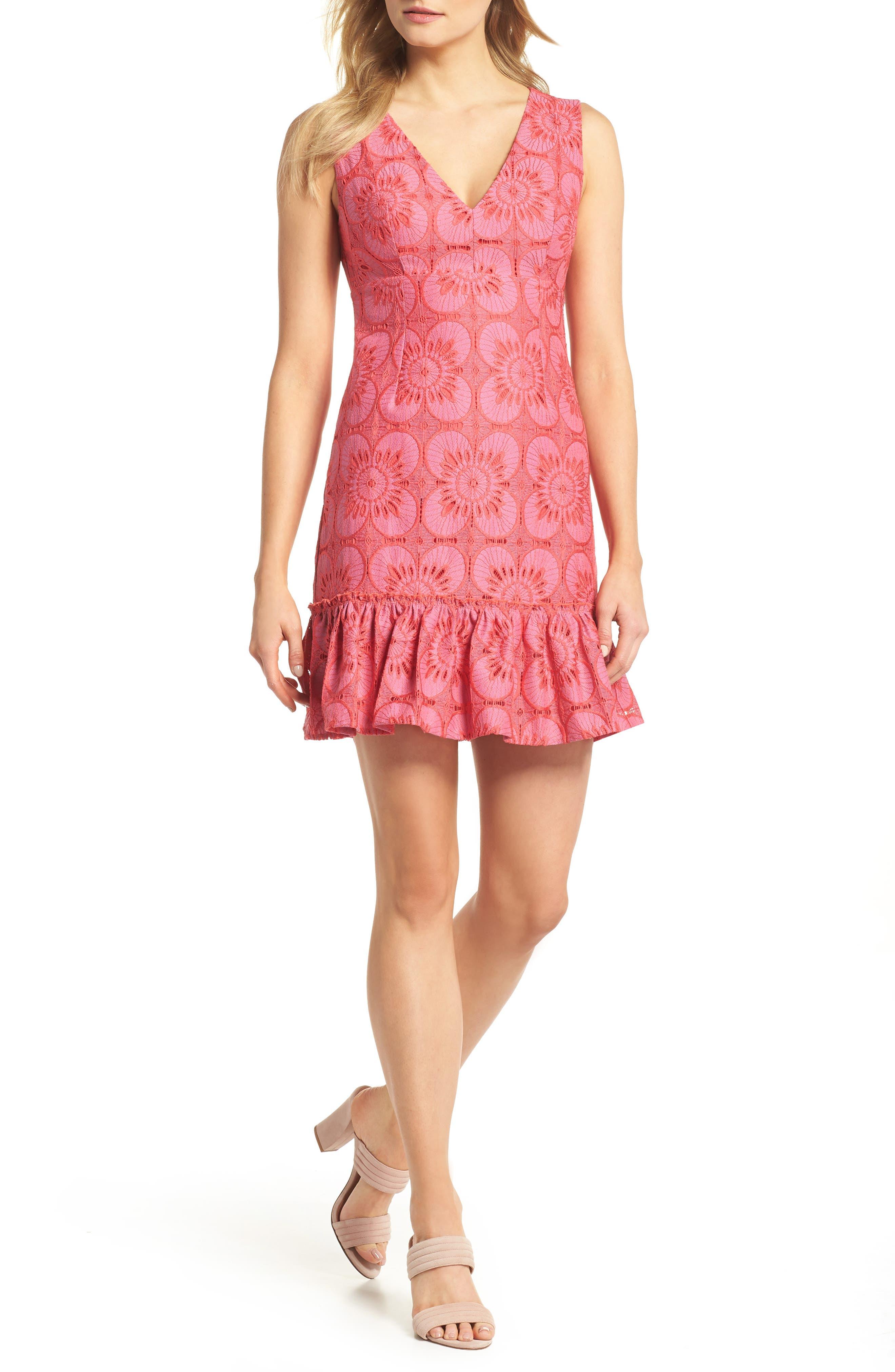 Carpinteria Lace Ruffle Hem Dress,                             Main thumbnail 1, color,                             Peony