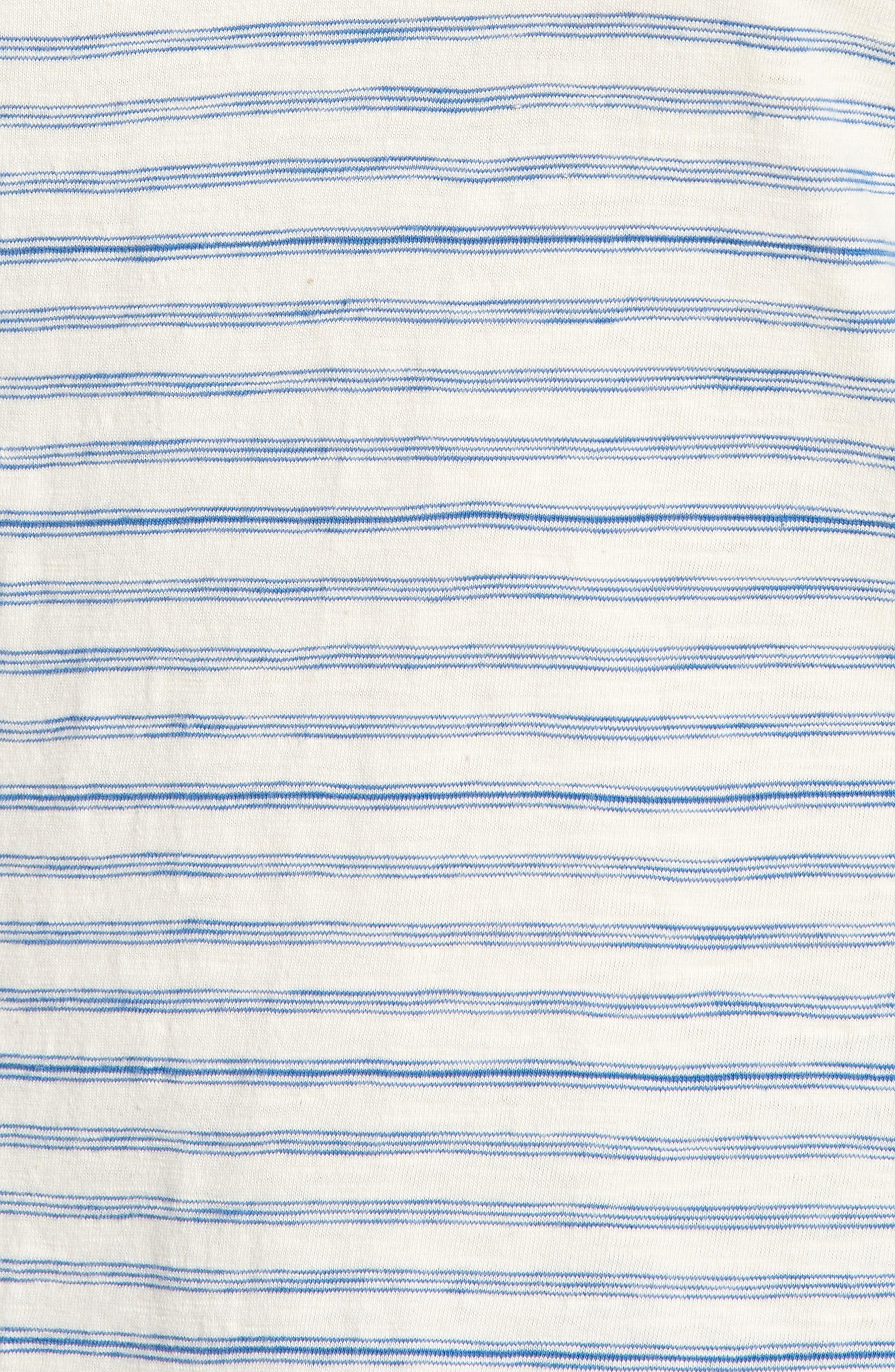 Lace-Up Shoulder Stripe Tee,                             Alternate thumbnail 6, color,                             Blue Multi