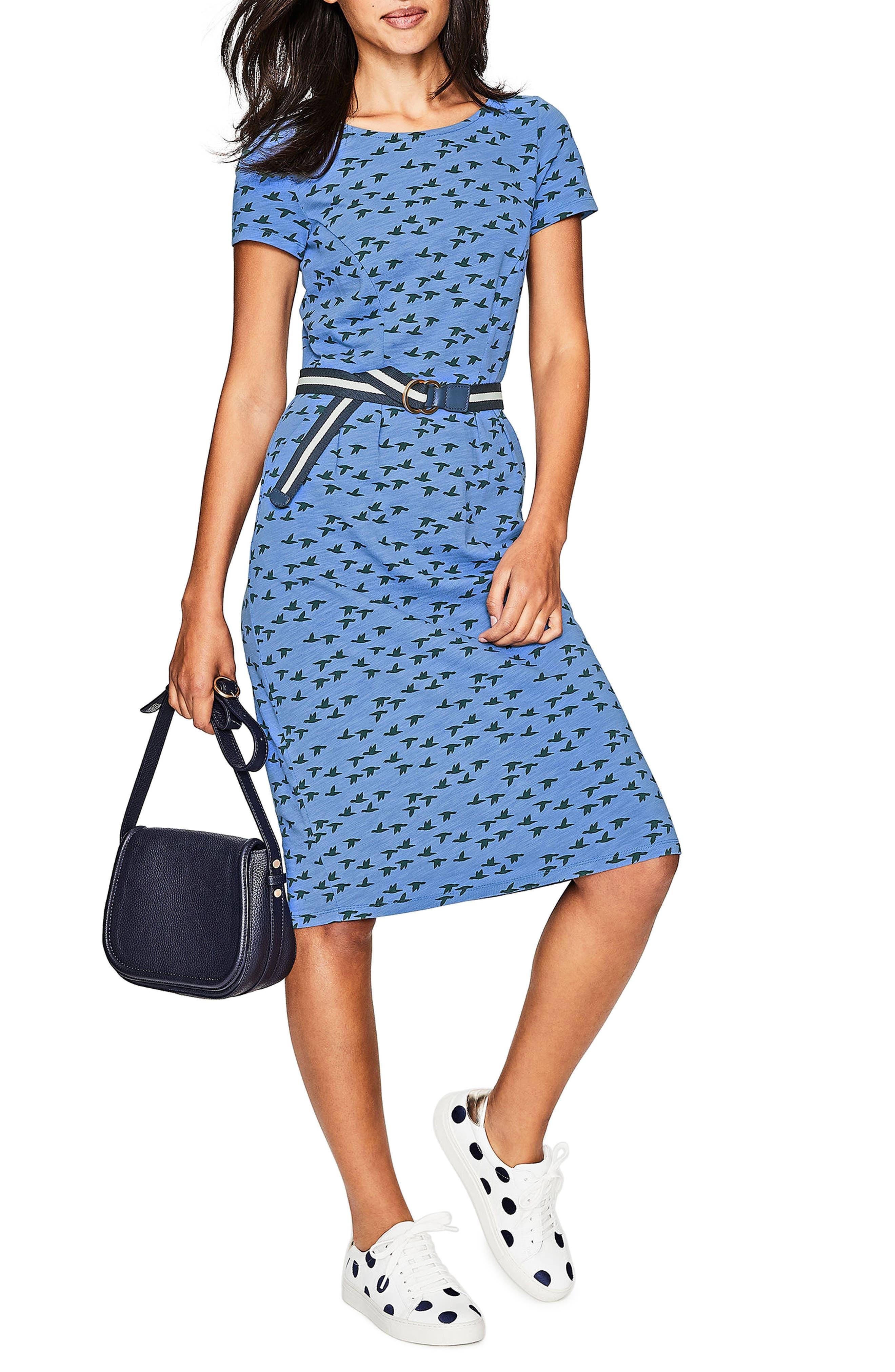 Boden Phoebe Bird Print Jersey Dress